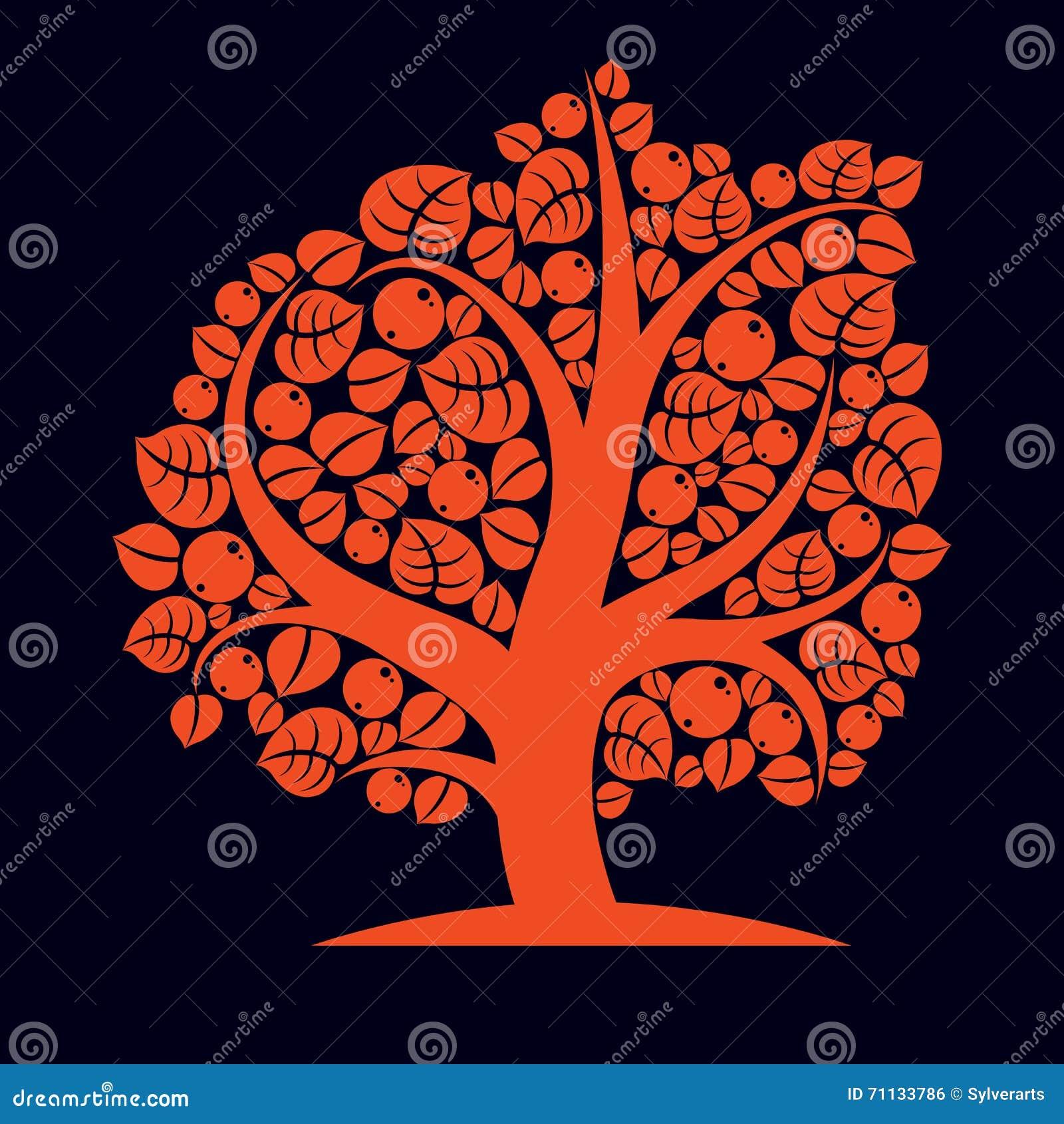 Träd med mogna äpplen, illustration för skördsäsongtema Fruitf