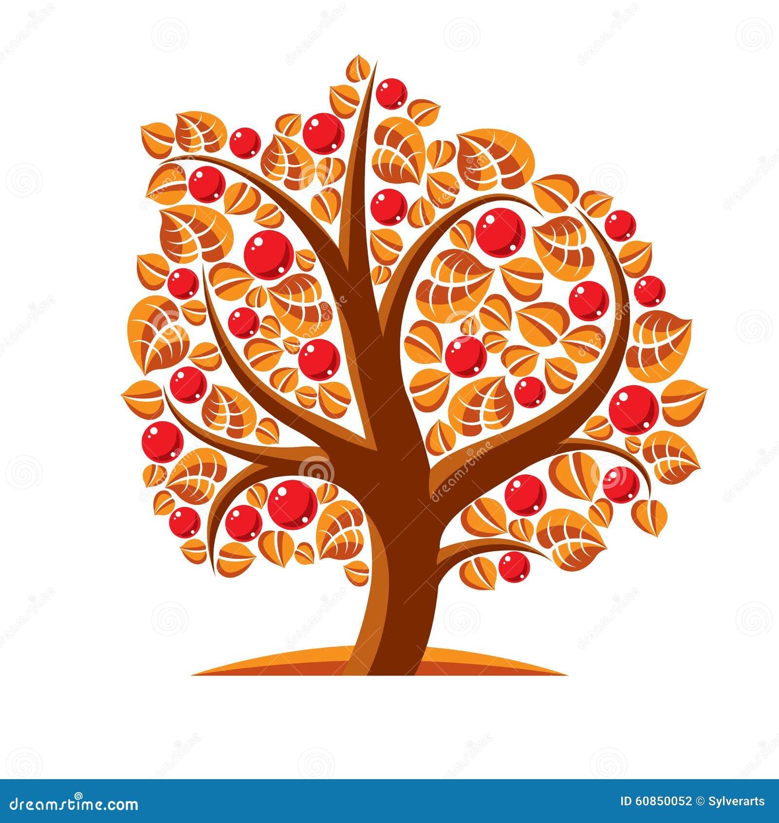 Träd med mogna äpplen, illustration för skördsäsongtema Frukt