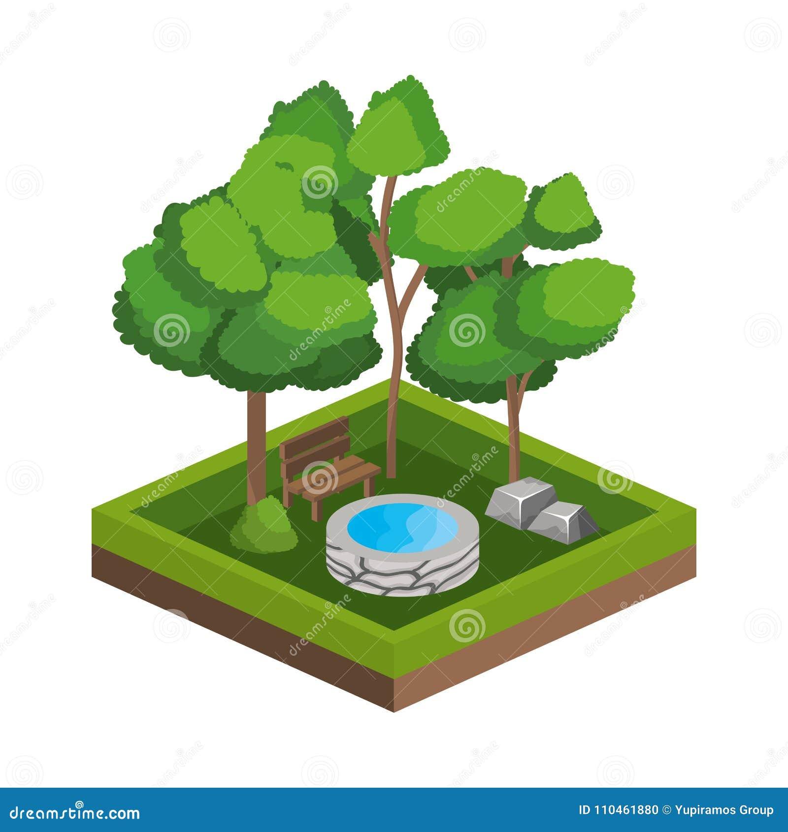 Träd och design för vattenkälla