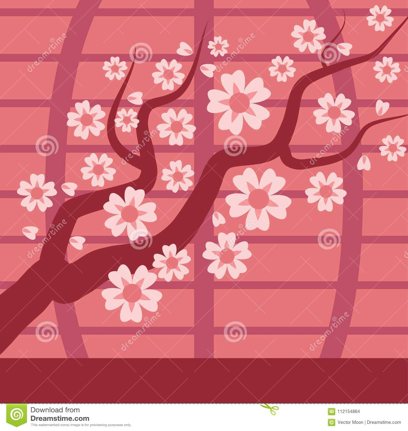 Trädet för den Sakura Japan blommar det körsbärsröda filialvektorn med att blomma illustrationen Sakura Japan körsbärsröd blomma