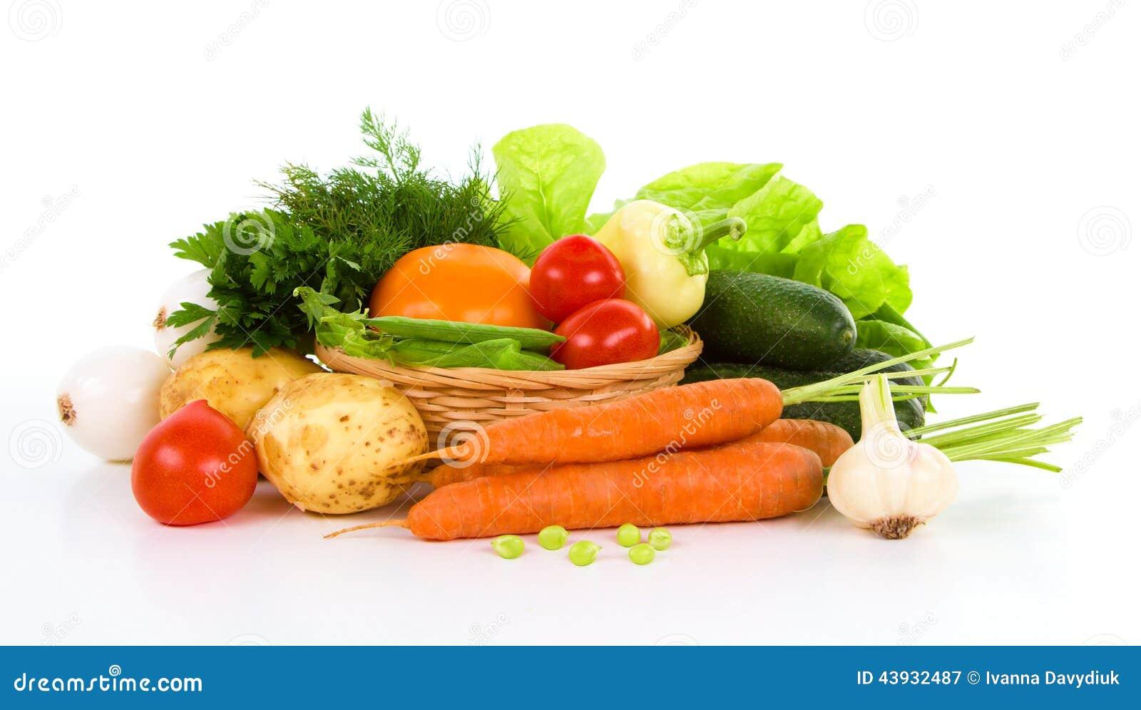 Trädgårds- grönsak över vit