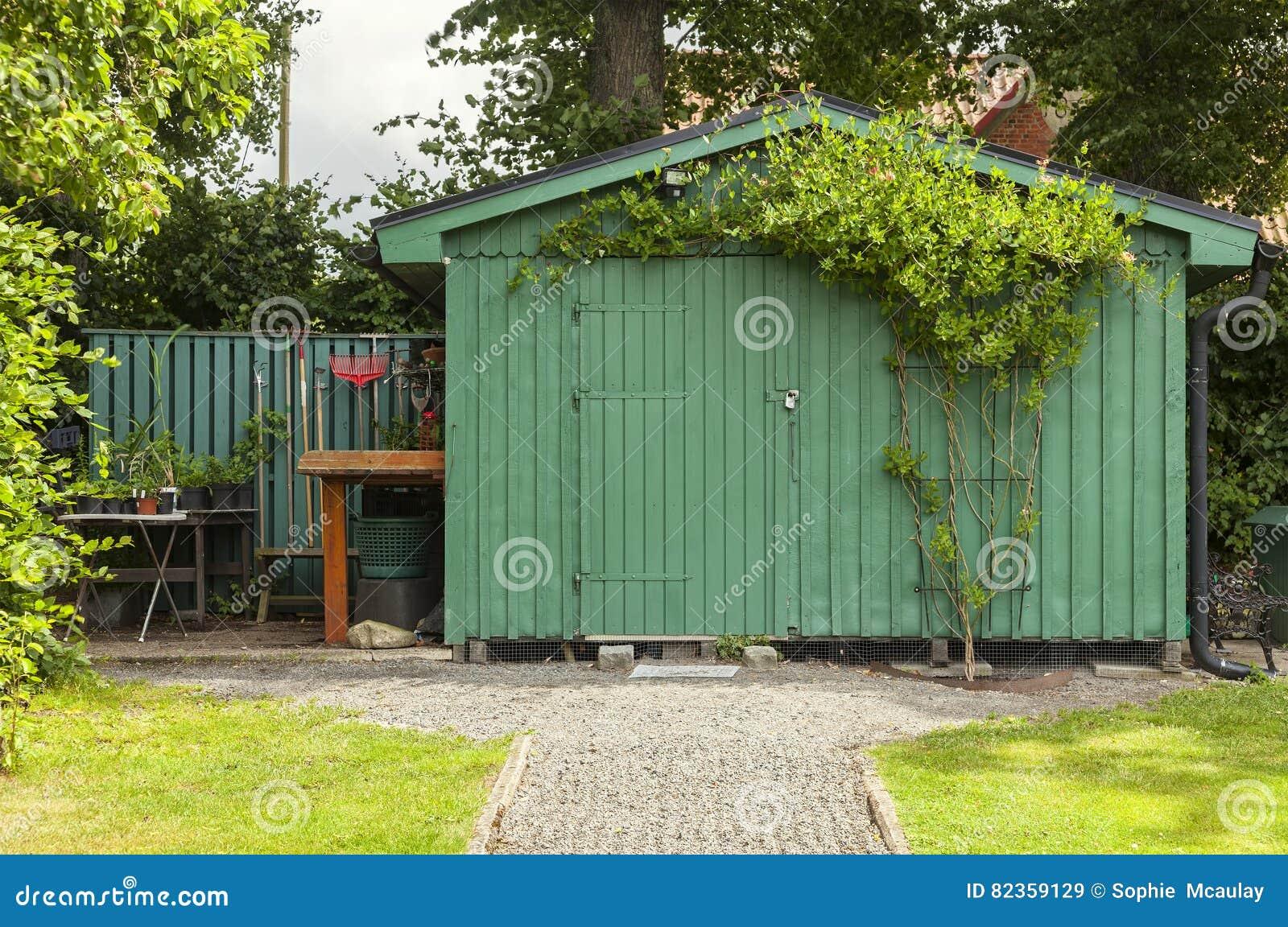 Trädgårds- grönt skjul