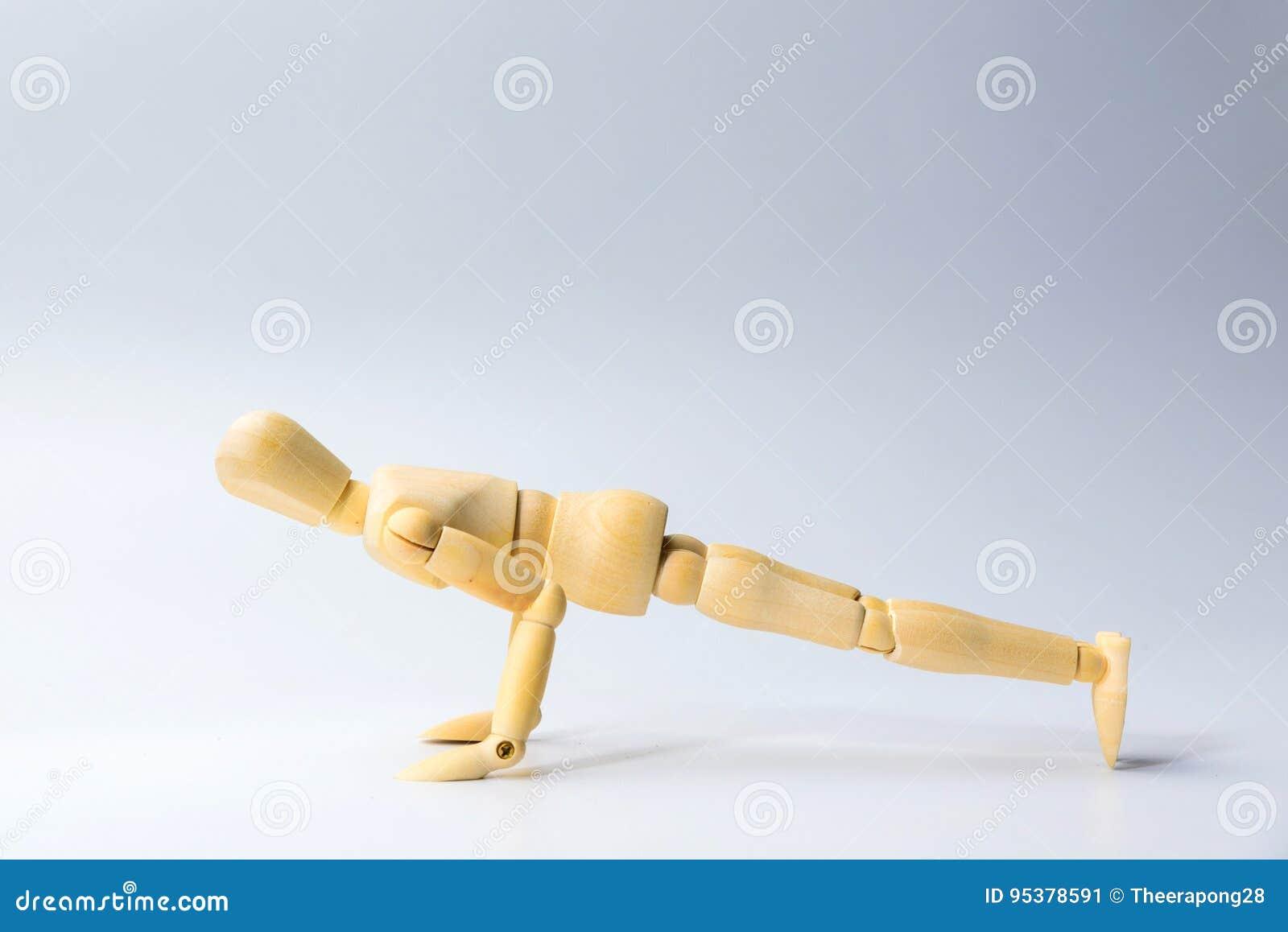 Trädiagramet docka med skjuter upp för hälsa på vit för exercis