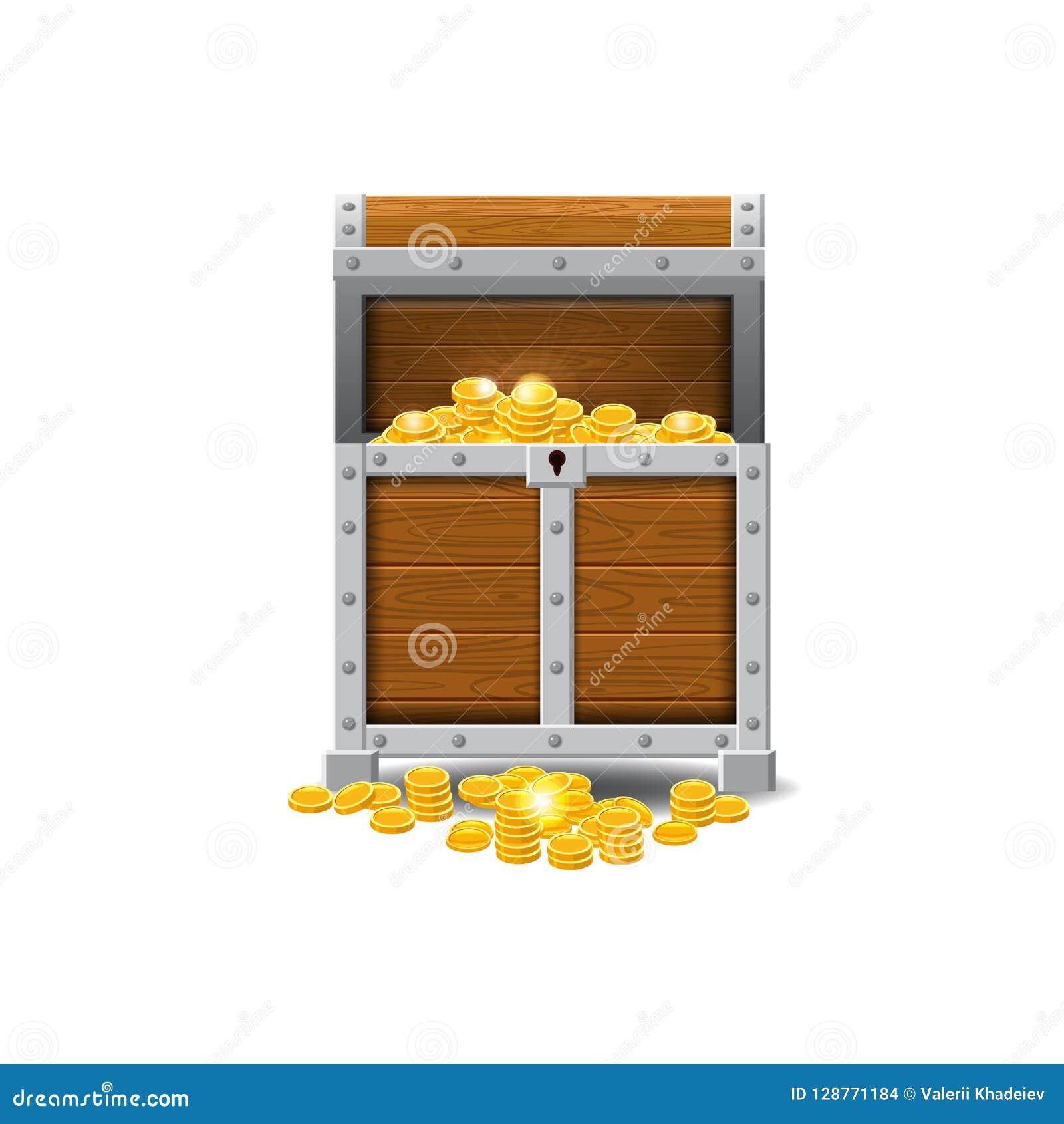 Trägamla piratkopierar bröstkorgar som är fulla av skatter, guld- mynt, skatter, vektorn, tecknad filmstil, illustrationen som is