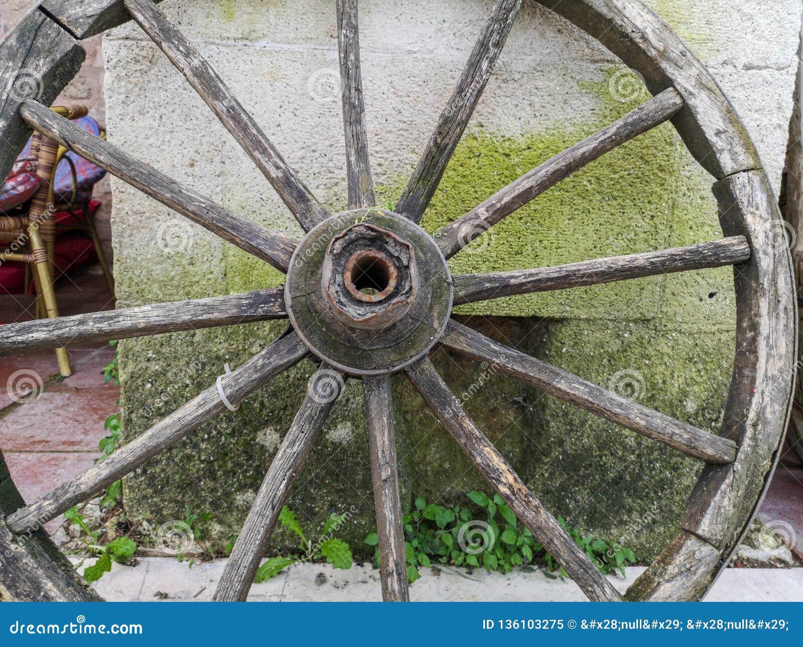 Trägammalt hästvagnshjul