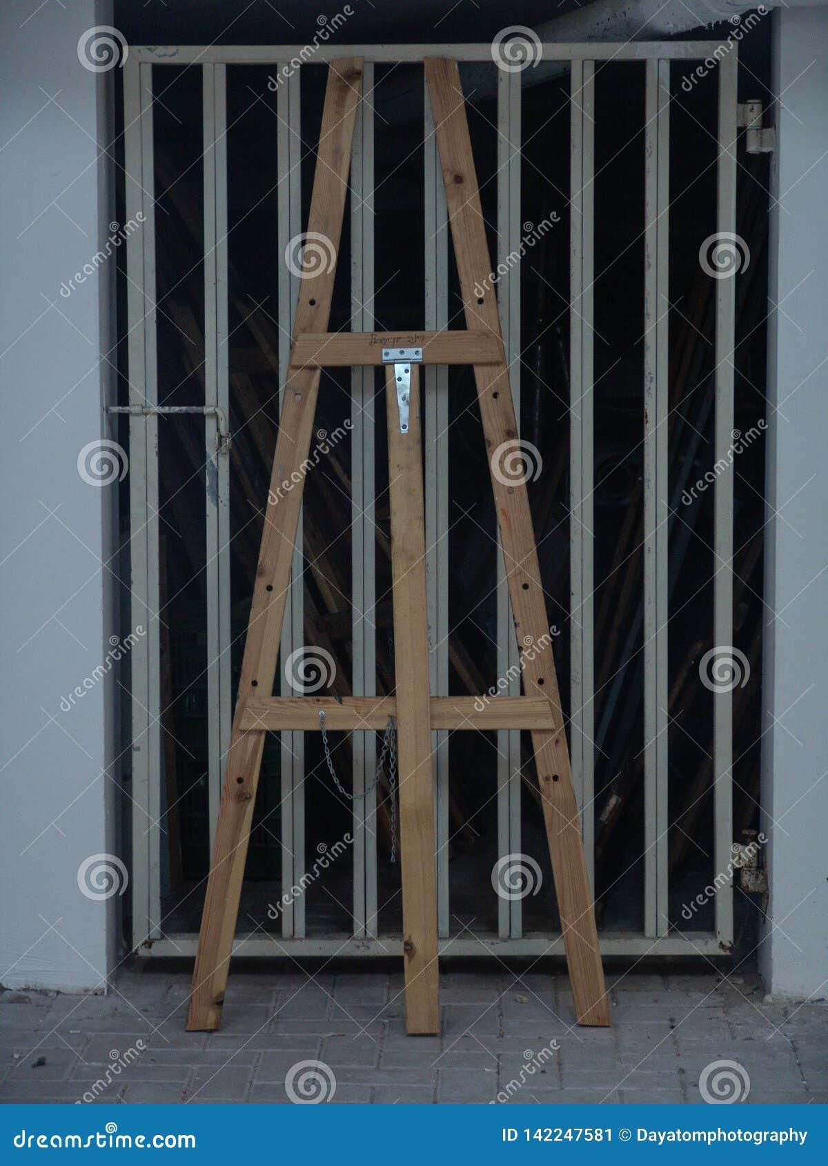 Trähögväxt stafflianseende mot en metallgaragedörr i vit