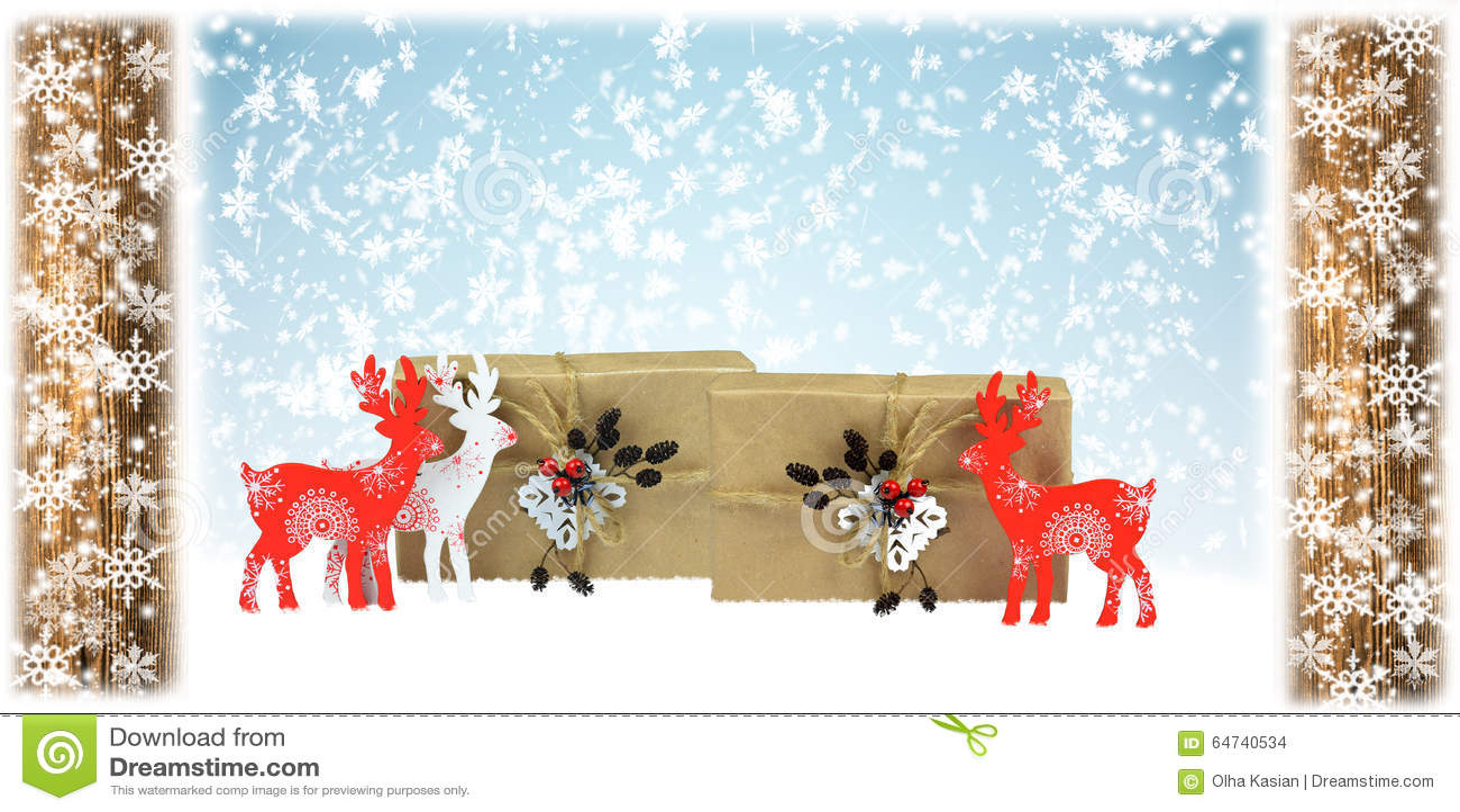 Trähjortar och handgjorda gåvor, julsammansättning
