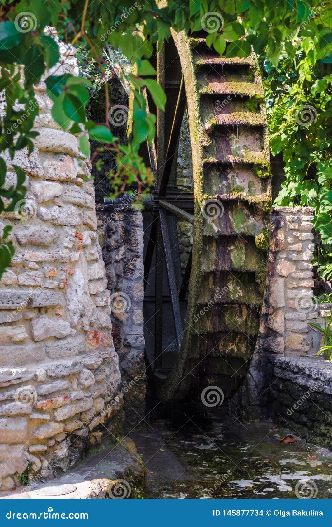 Trähjulet av ett forntida vatten maler i botaniska trädgårdar av Balchik och slott av den rumänska drottningen Marie i Bulgarien