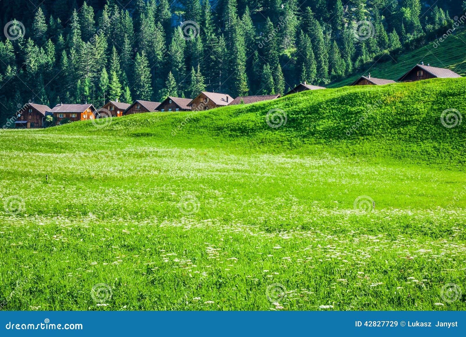 Trähus i Steg, Malbun, i Lichtenstein, Europa