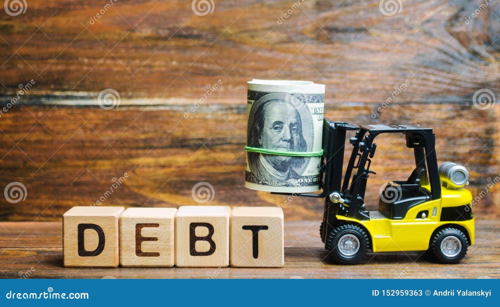 Träkvarter med de ordskulden, dollarna och gaffeltrucken Mängd pengar lånade under bestämda villkor Långivare och