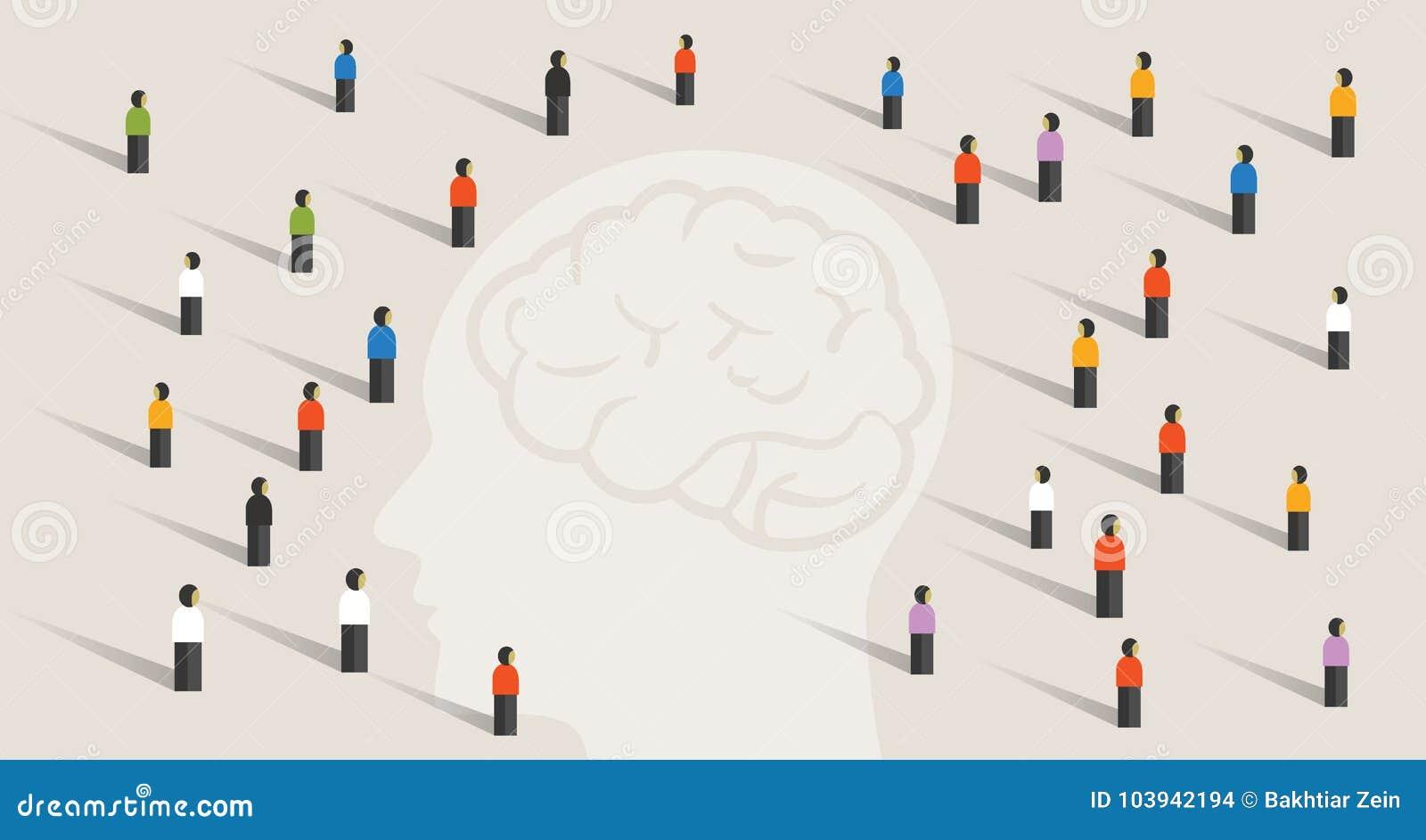 Tränga ihop gruppen för många personer med stor head mening som tillsammans tänker sjukdom för minne för hälsovård för intelligen