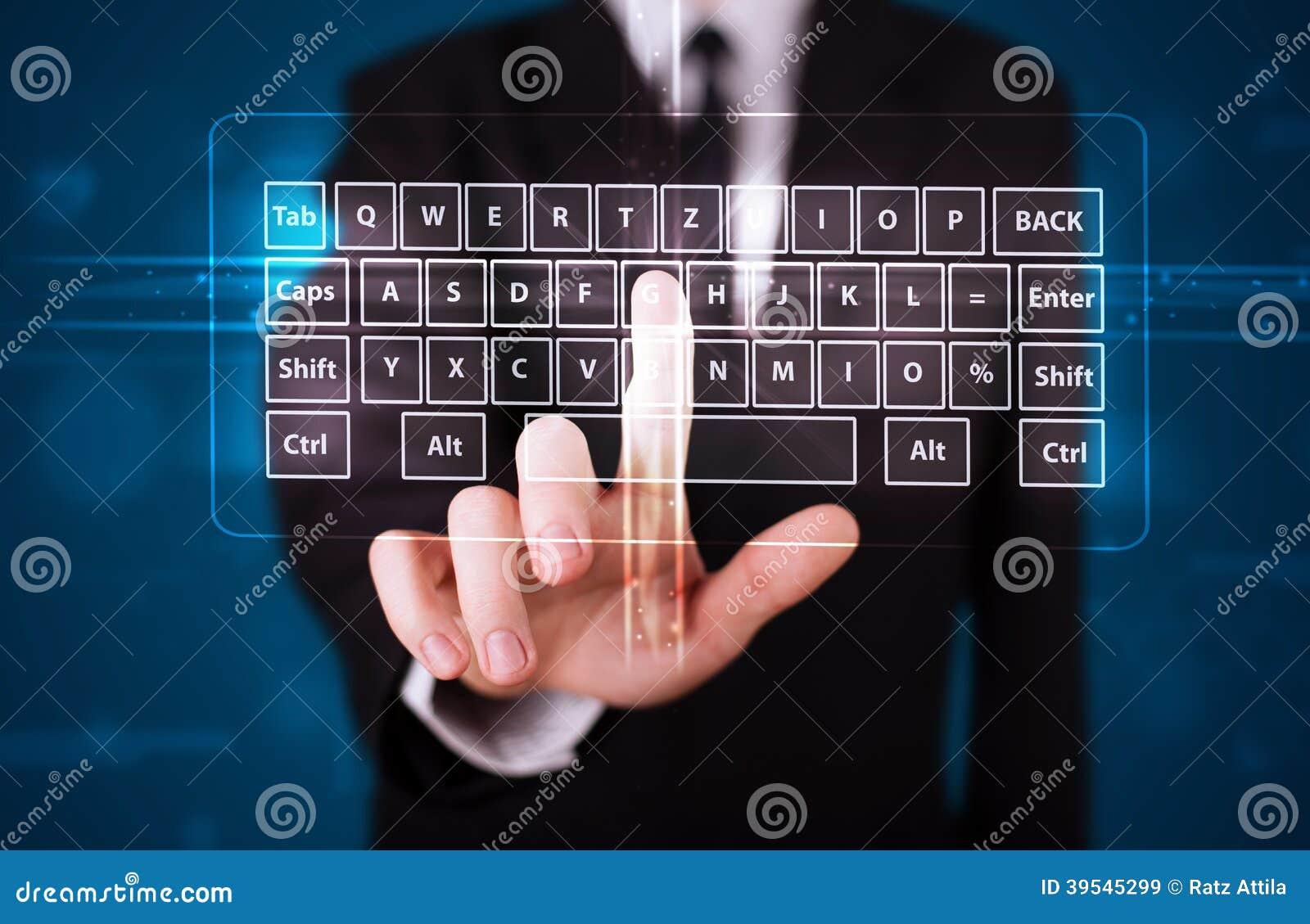 Trängande faktisk typ för affärsman av tangentbordet