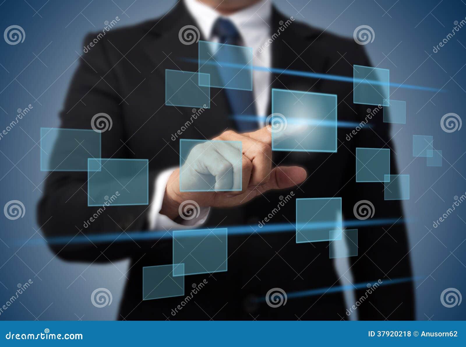 Trängande tekniskt avancerad typ för affärsman av moderna knappar