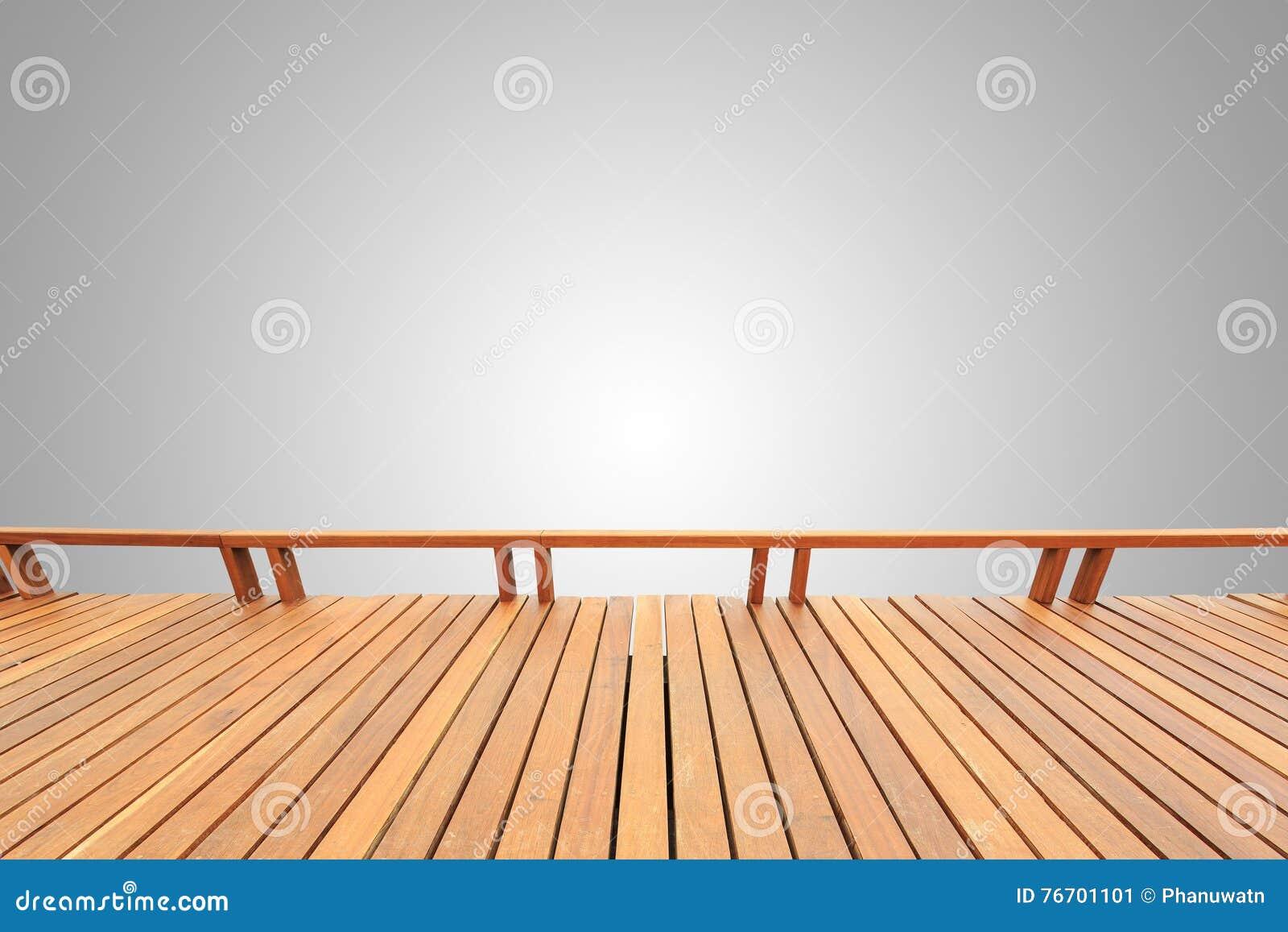 Träpryda eller däcka som isoleras på tomt grå färgutrymme för desi