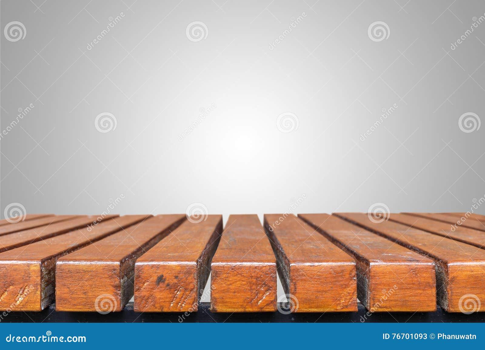 Träskrivbord eller tabell isolerat tomt grå färgutrymme för design