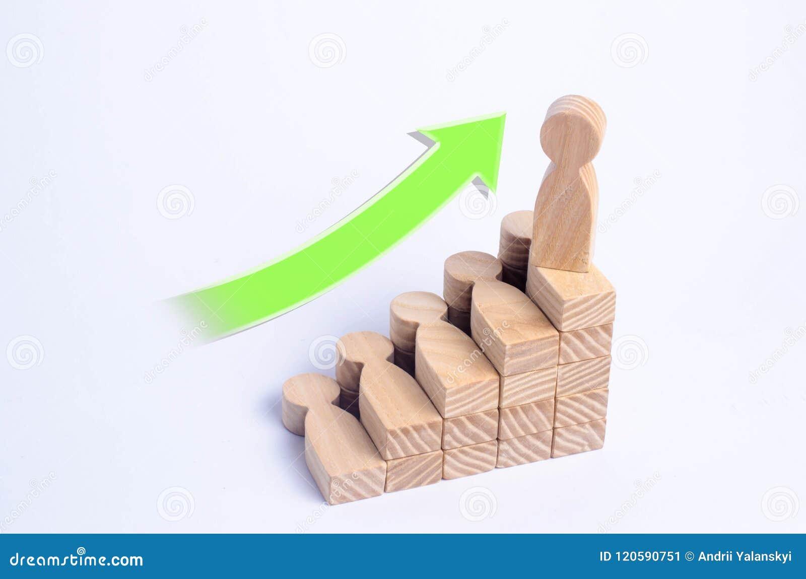 Träställningar för en man upptill av en samkväm eller en karriärstege Begrepp av affärsframgång Trappa av folk Använd andra arbet