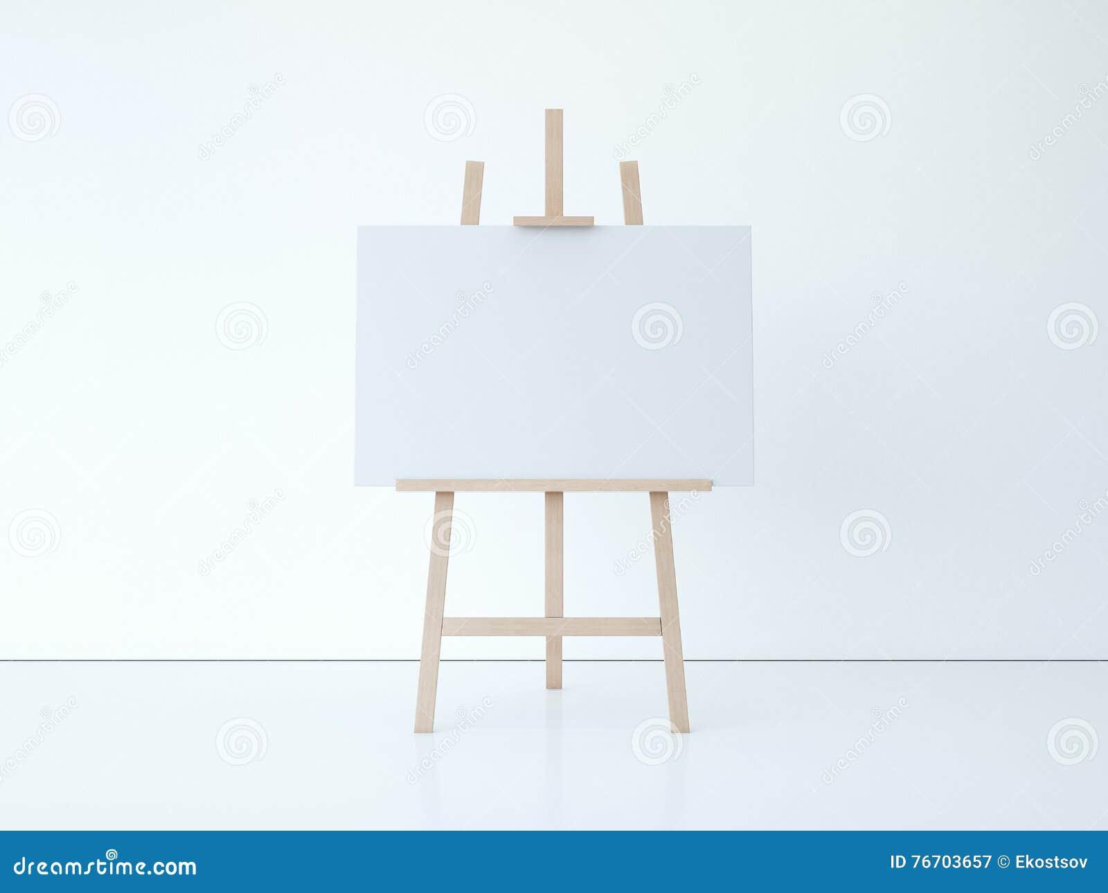 Trästaffli med tom vit kanfas framförande 3d