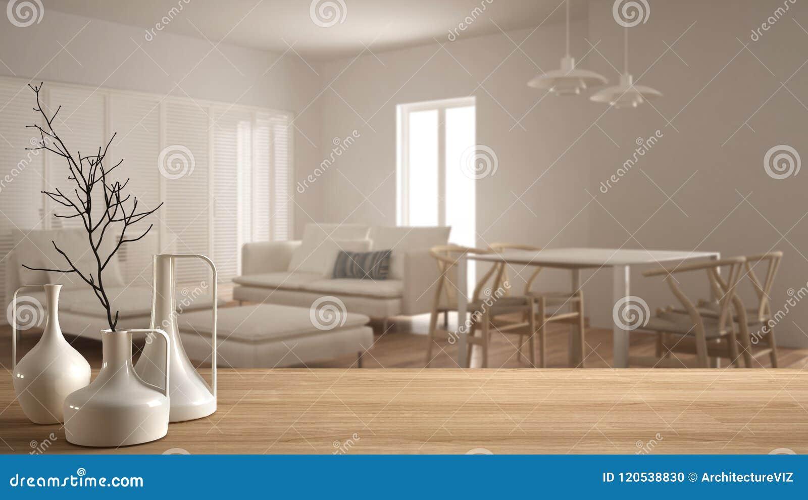 Trätabellöverkant eller hylla med minimalistic moderna vaser över suddig minimalist modern vardagsrum med glidningsdörren, vit