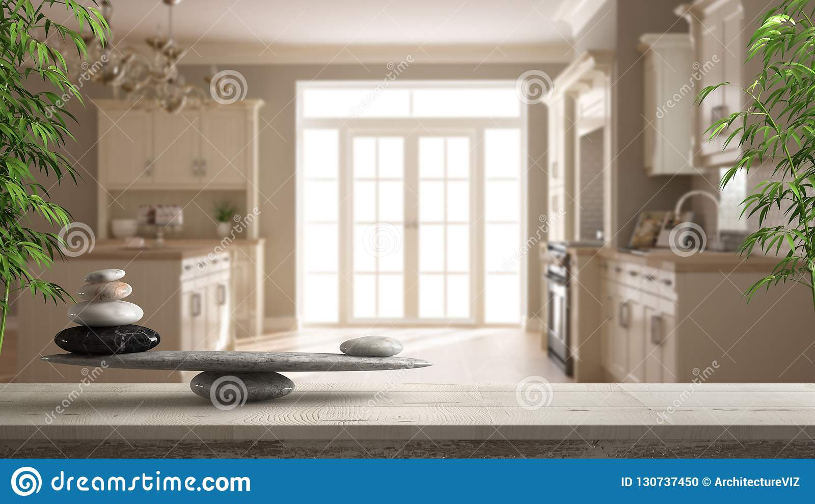 Trätappningtabell eller hylla med stenjämvikt, över suddigt klassiskt beige kök med ön, fengshui, zenbegreppsarkitekt