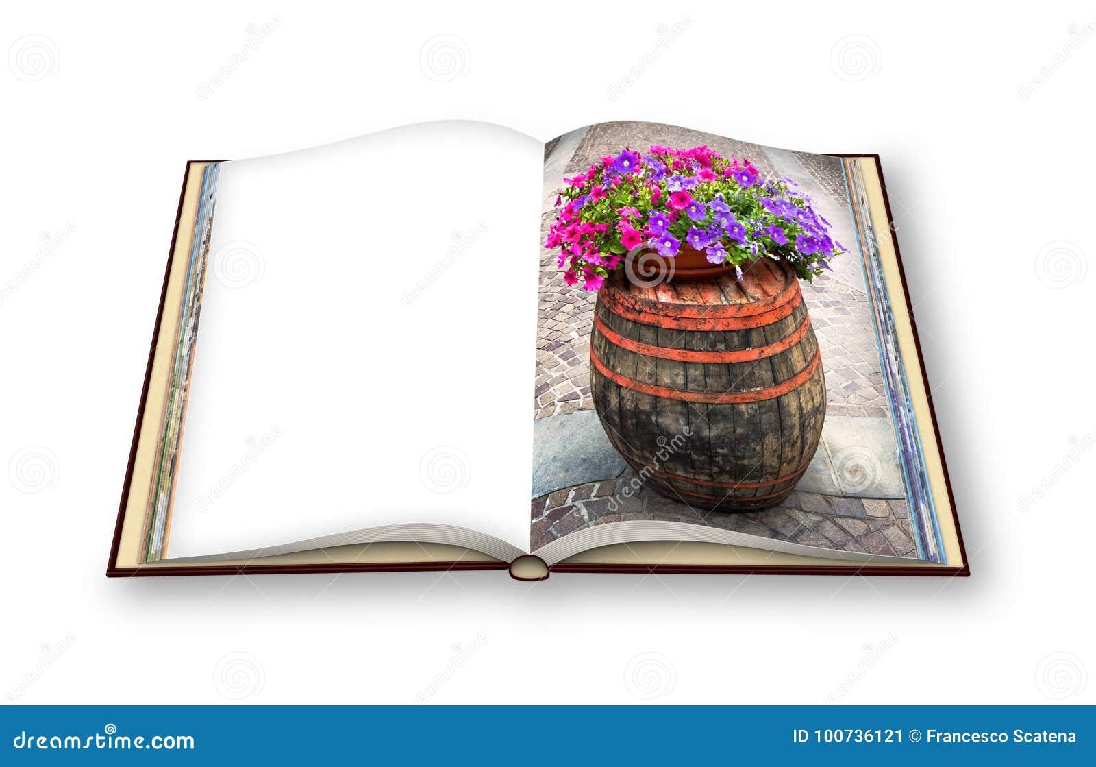 Trätrumma med blomkrukan över - 3D framför fotobokconcep
