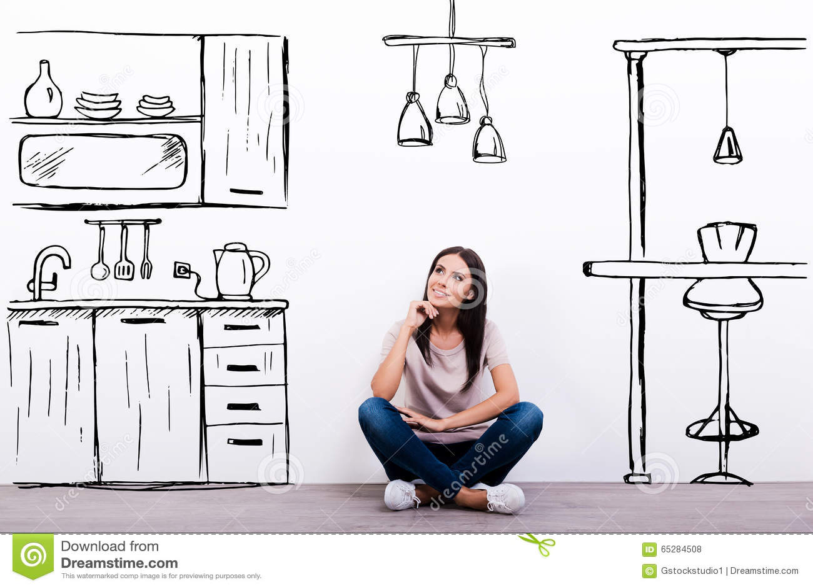 Träumen über neue Küche stock abbildung. Illustration von ...