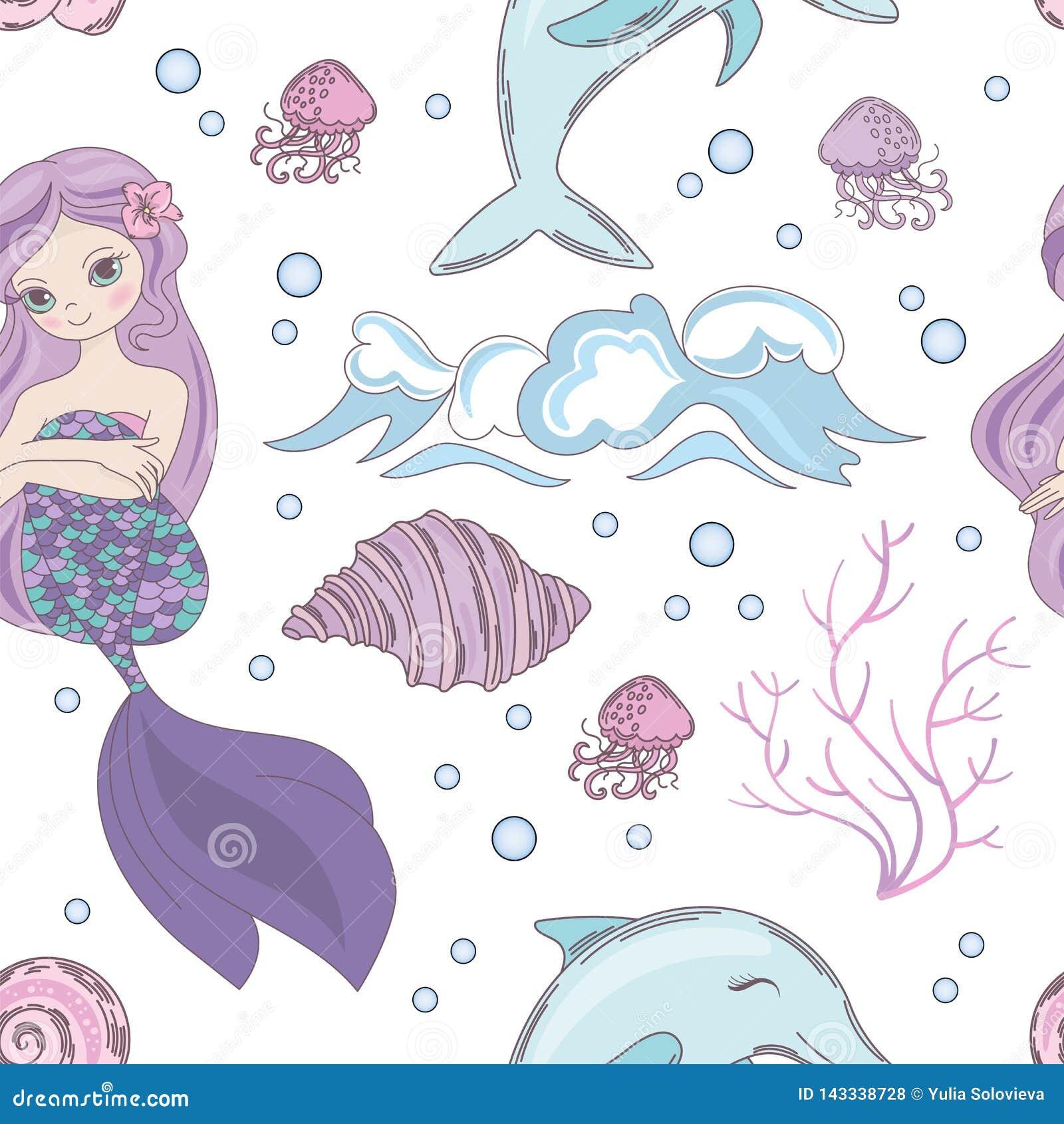 TRÄUMEN MEERJUNGFRAU Ozean-der nahtlosen Muster-Vektor-Illustration