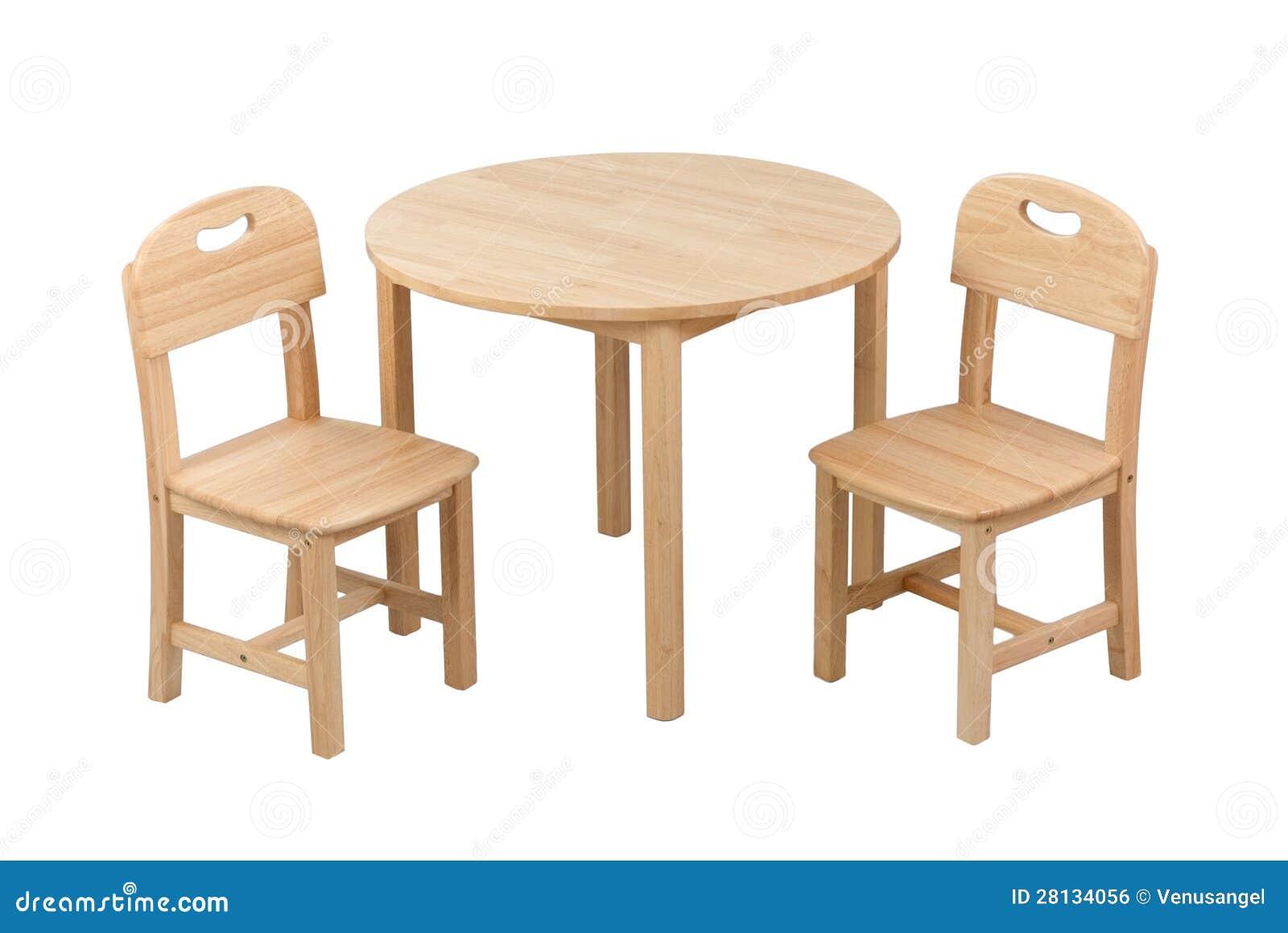 Träungestolen och bordlägger uppsättningen