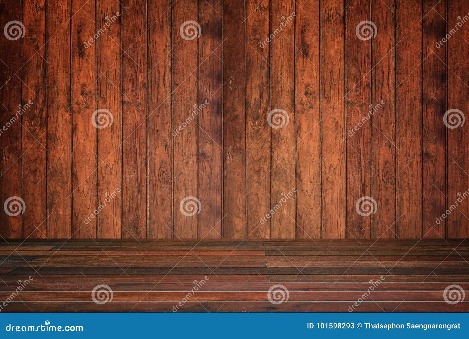 Trävägg och golv i perspektivsikten, grungebakgrund E