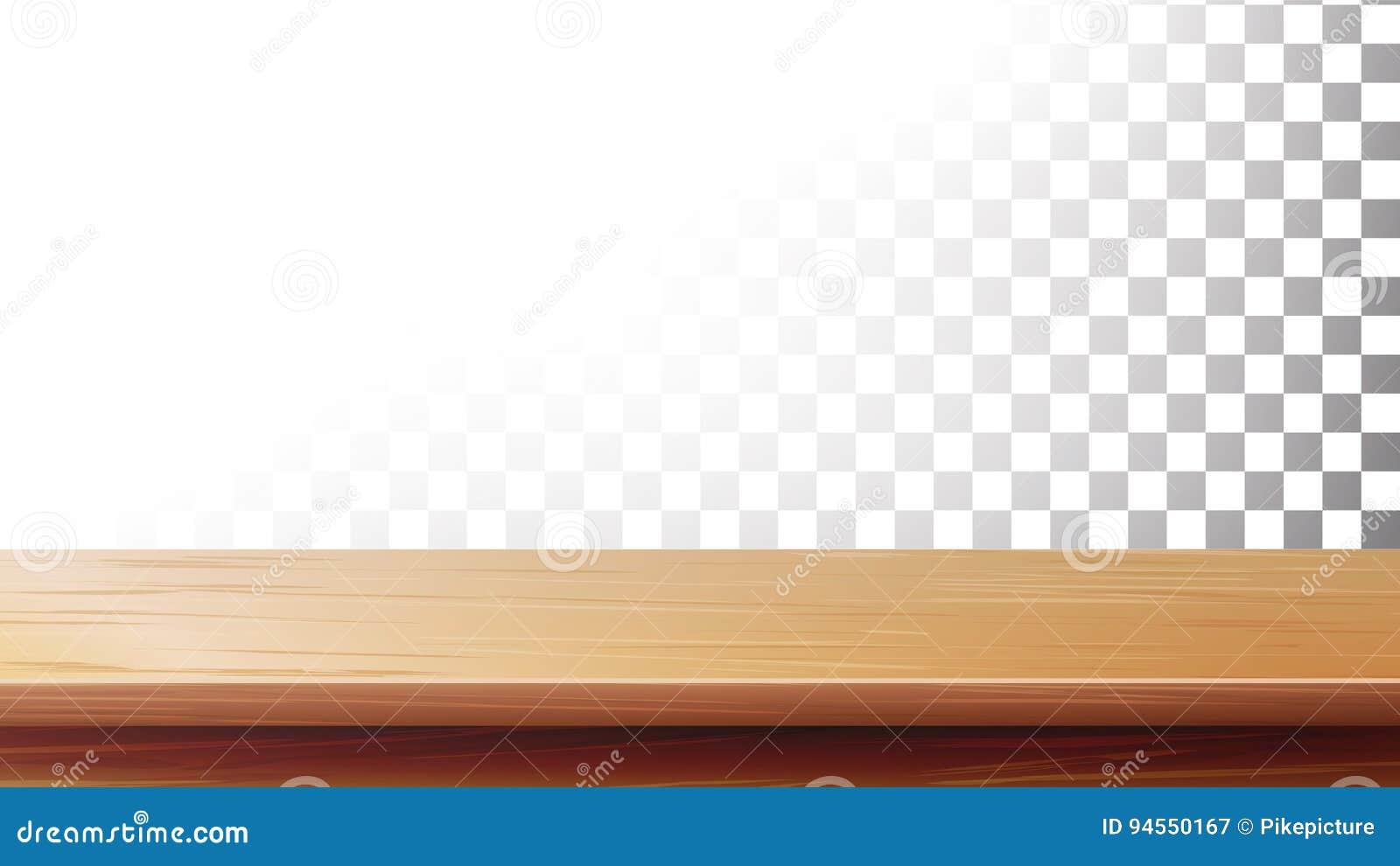 Trävektor för tabellöverkant Isolerat på genomskinlig bakgrund