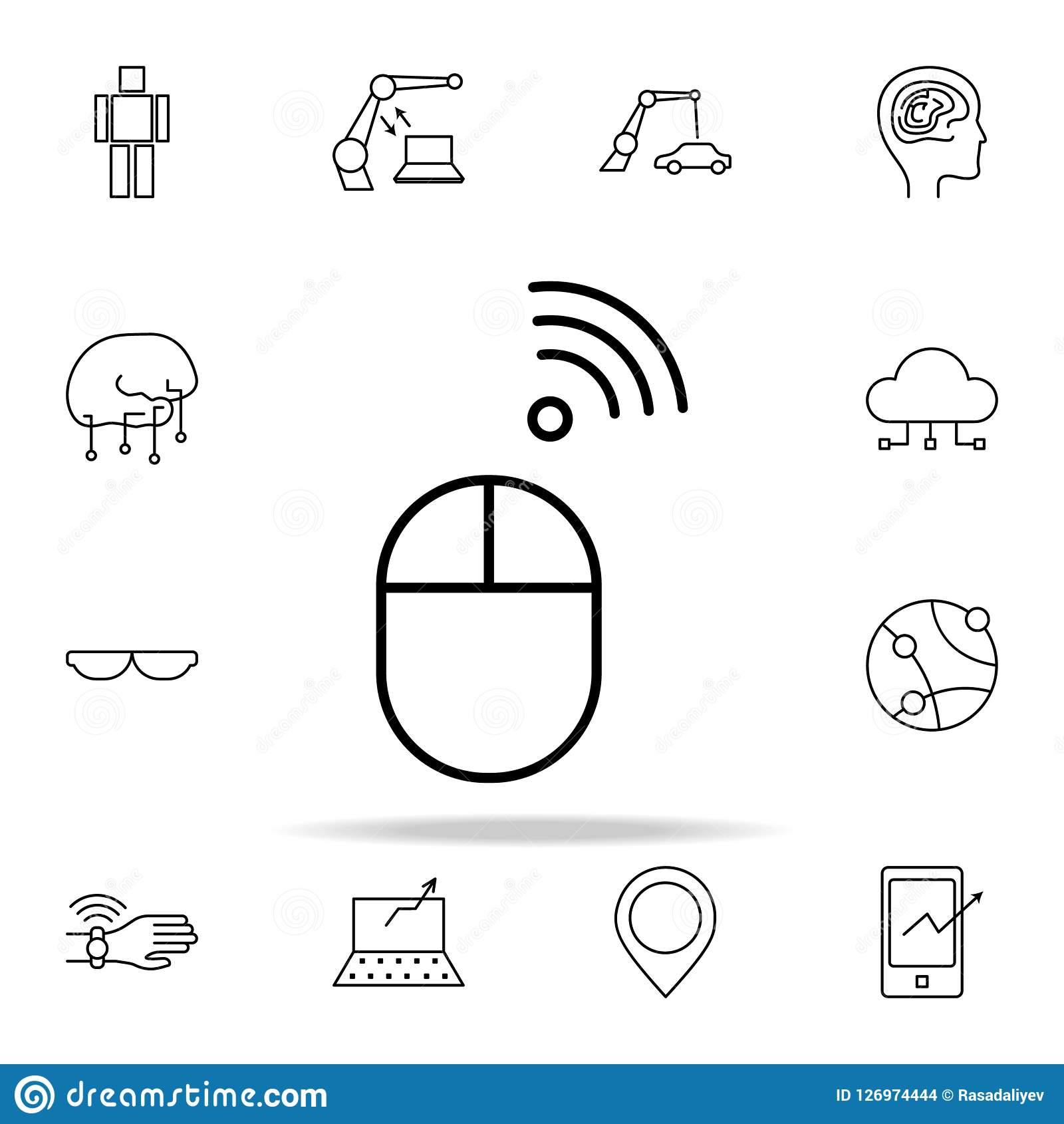 Trådlös mussymbol Universell uppsättning för ny tekniksymboler för rengöringsduk och mobil