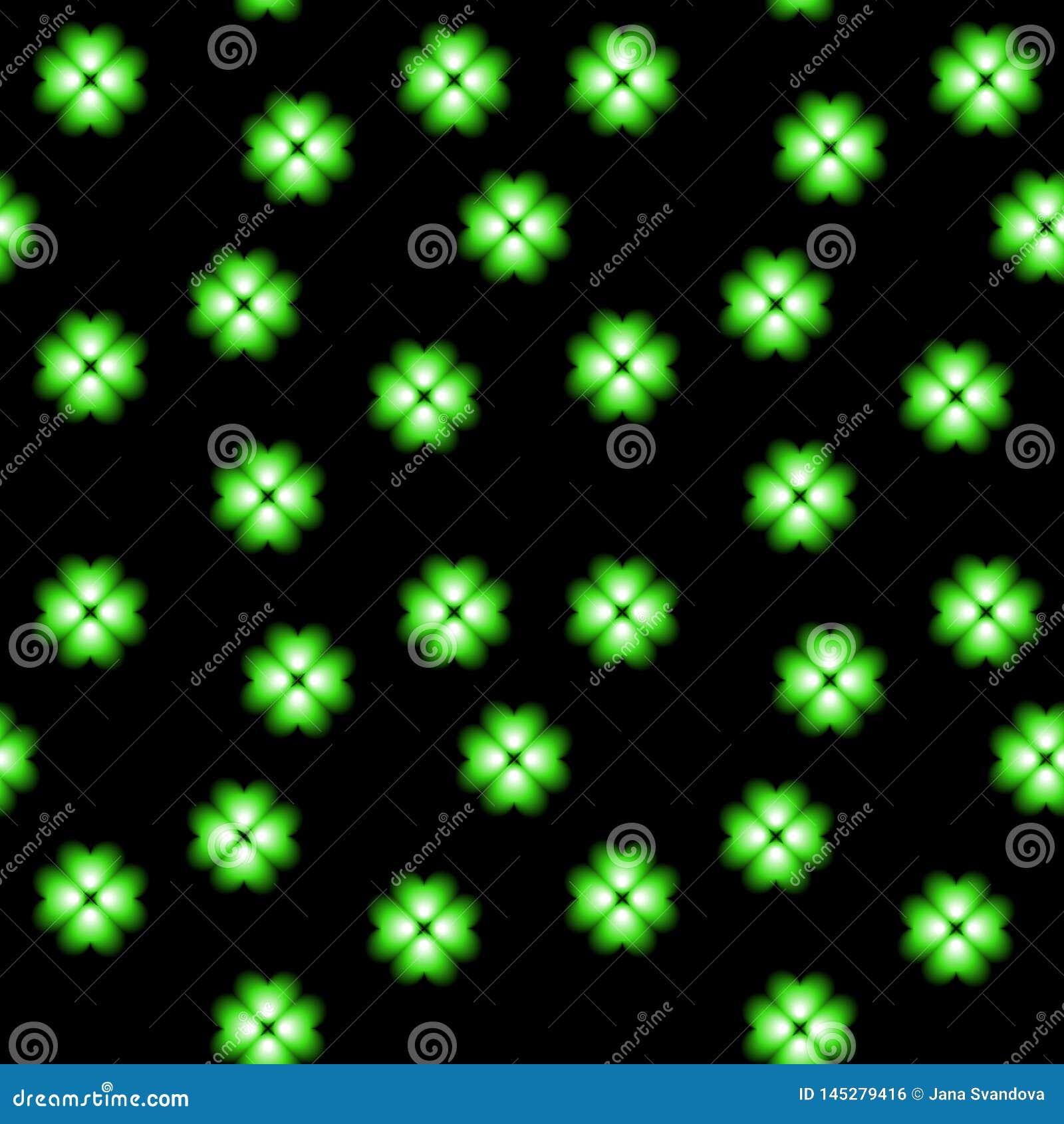 Trébol de neón verde, símbolo de la suerte, fondo inconsútil del vector floral