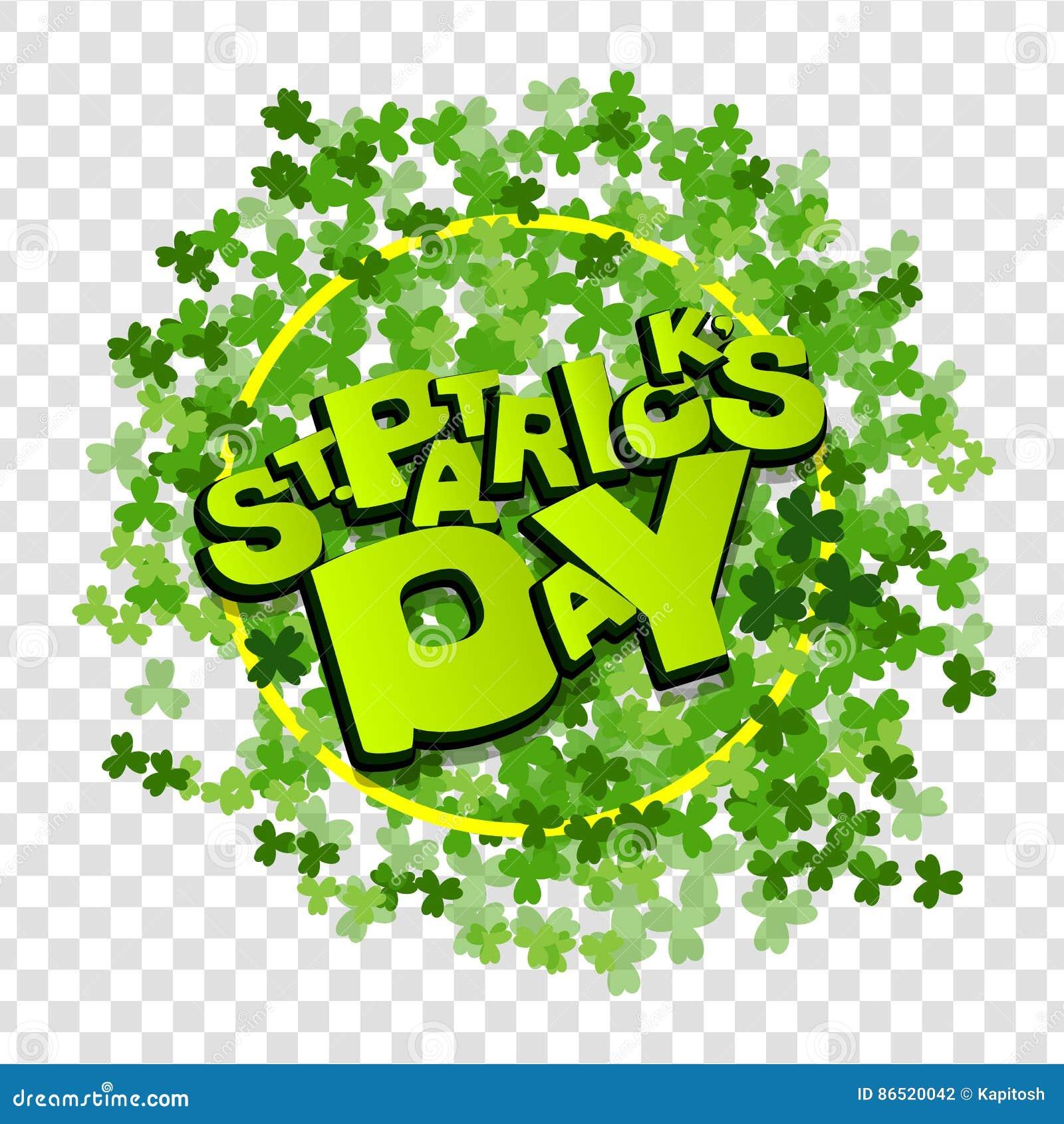 Trébol Verde Blanco Letra St Patrick Day Ilustración Del