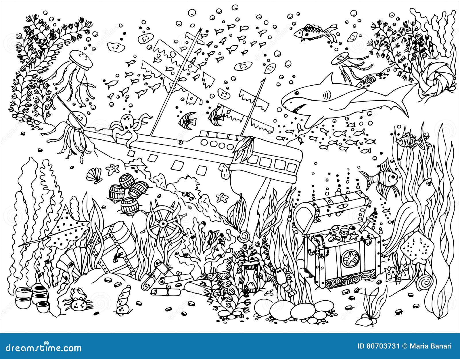 Trésor Submergé épave Illustration De Vecteur Dessin De Griffonnage