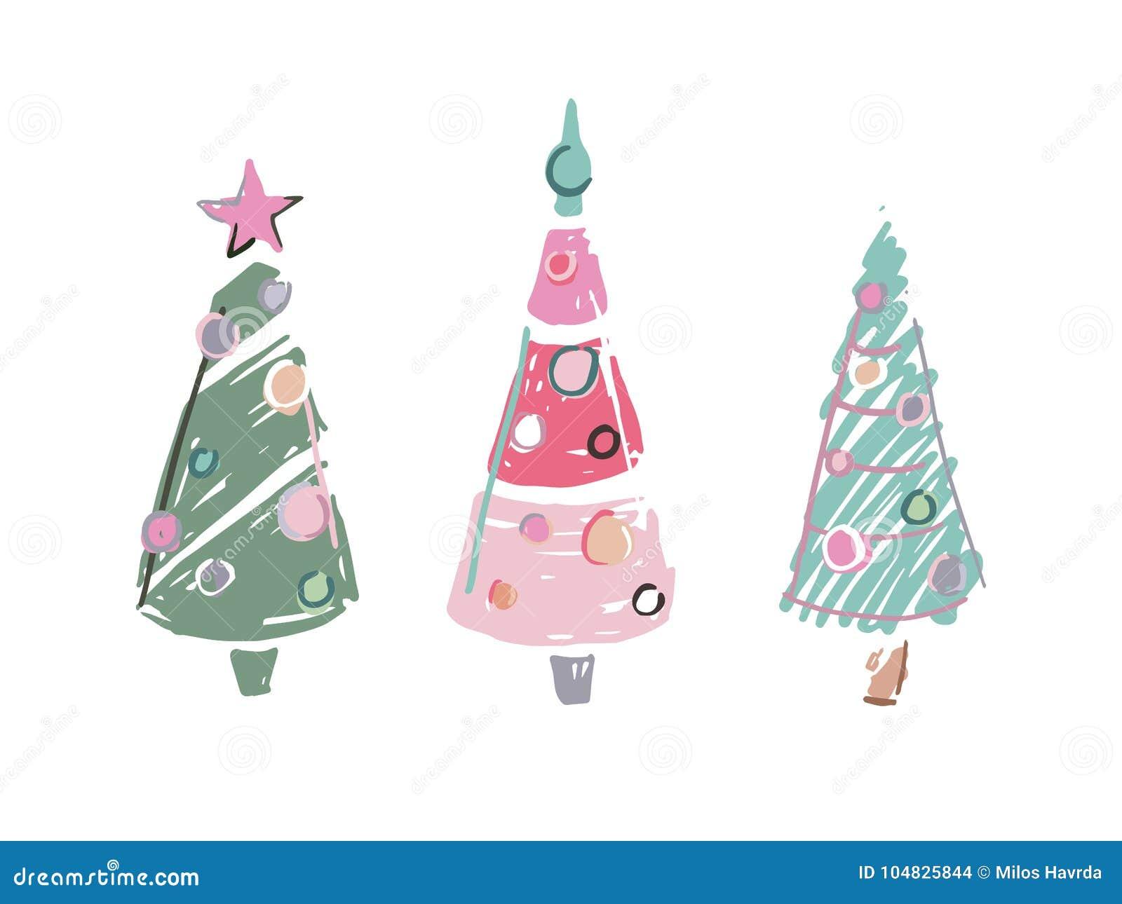 Tres Arvores De Natal Coloridas Garrancho Dos Desenhos Animados