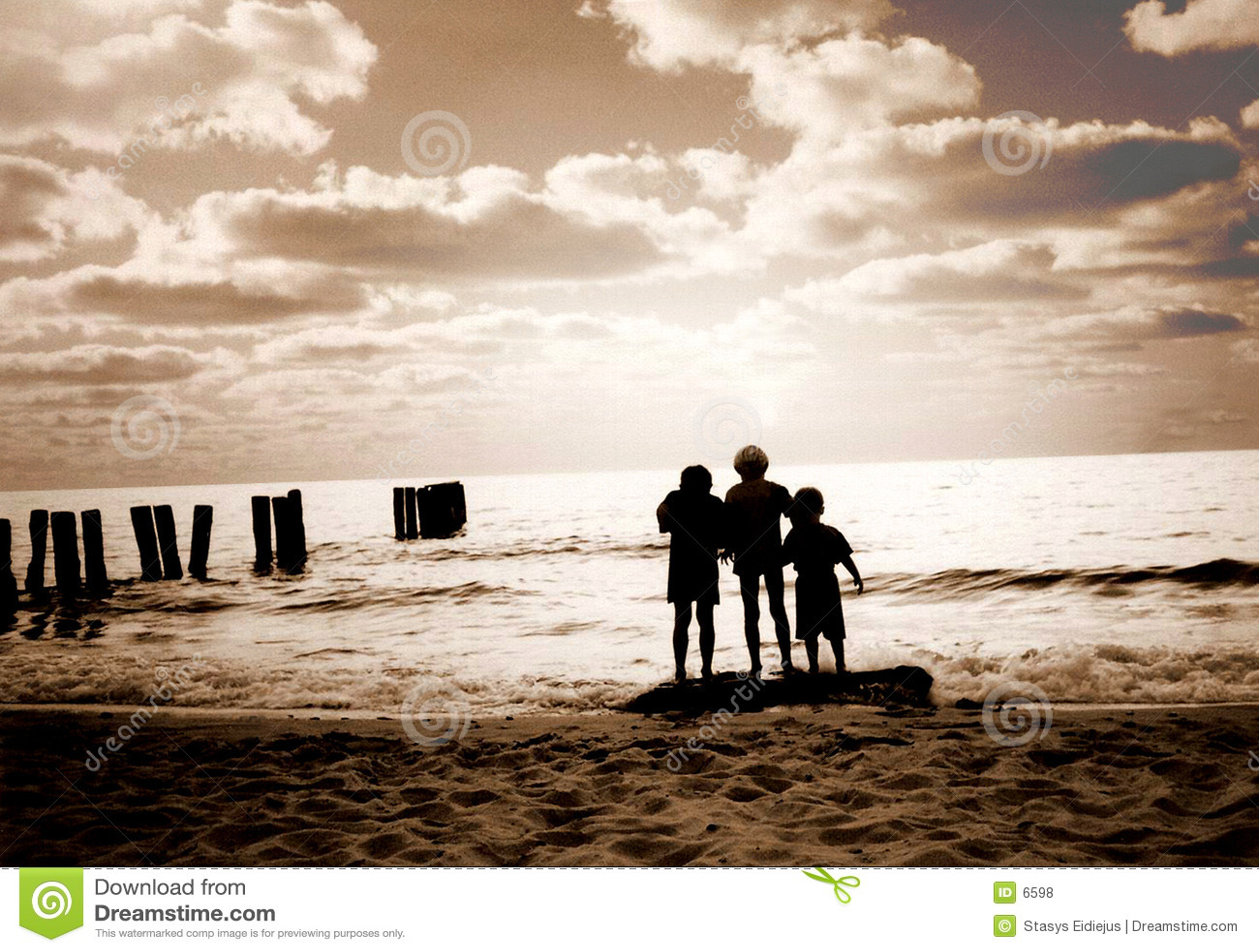 Três amigos na praia