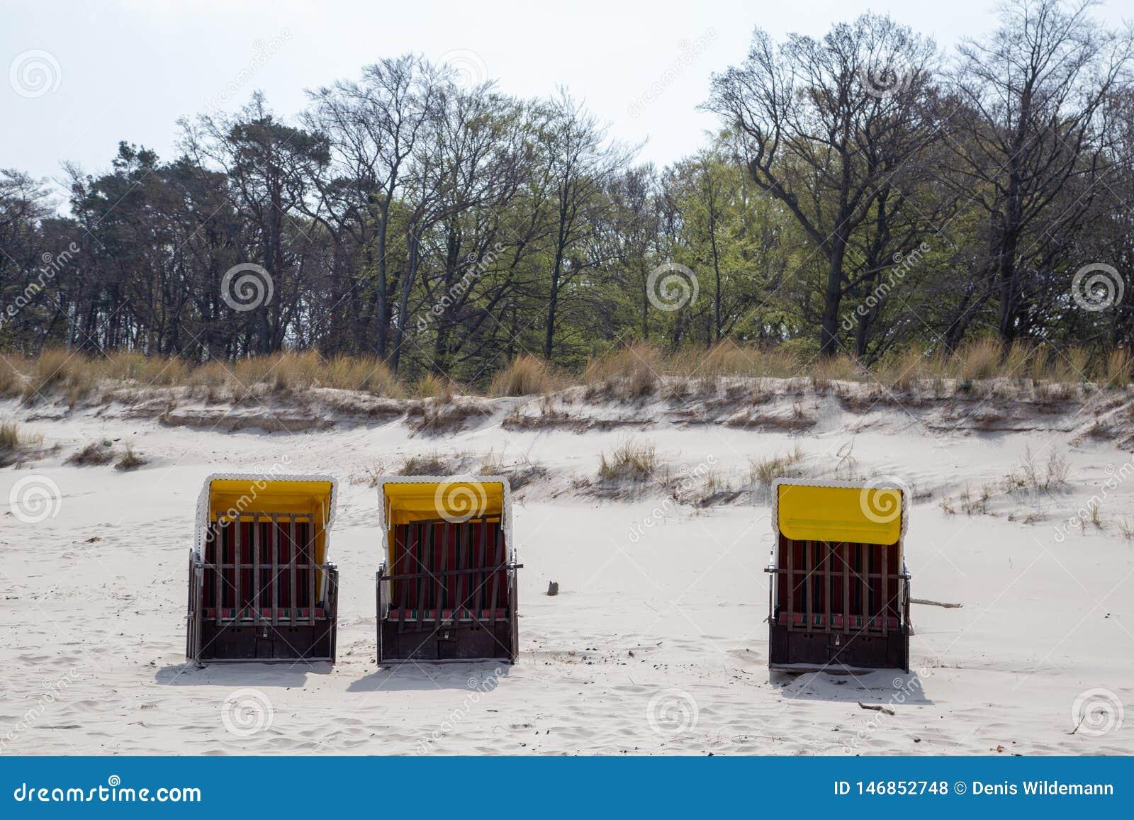 Três cadeiras de praia sós na praia de Zempin na ilha Usedom