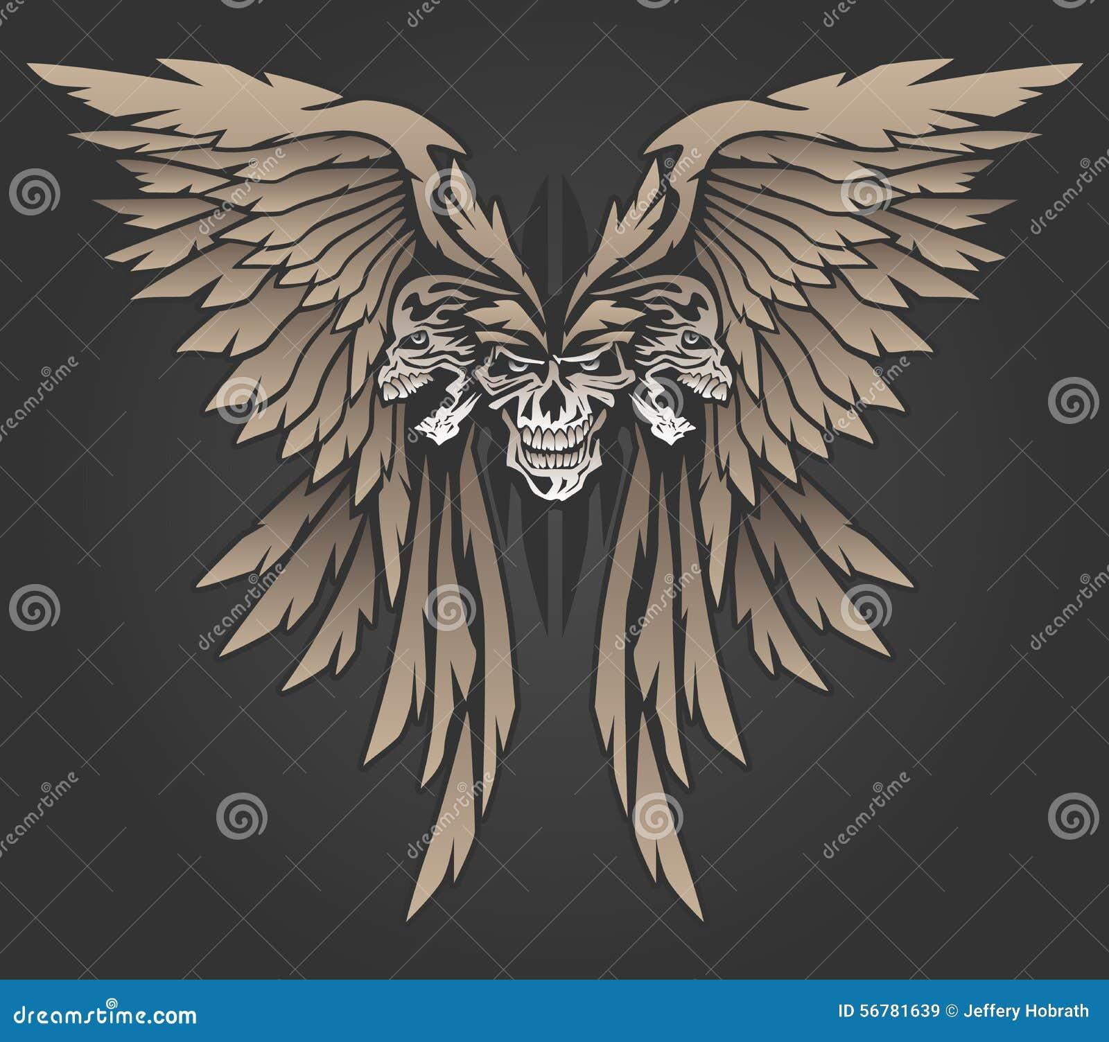 Três crânios com ilustração do vetor das asas