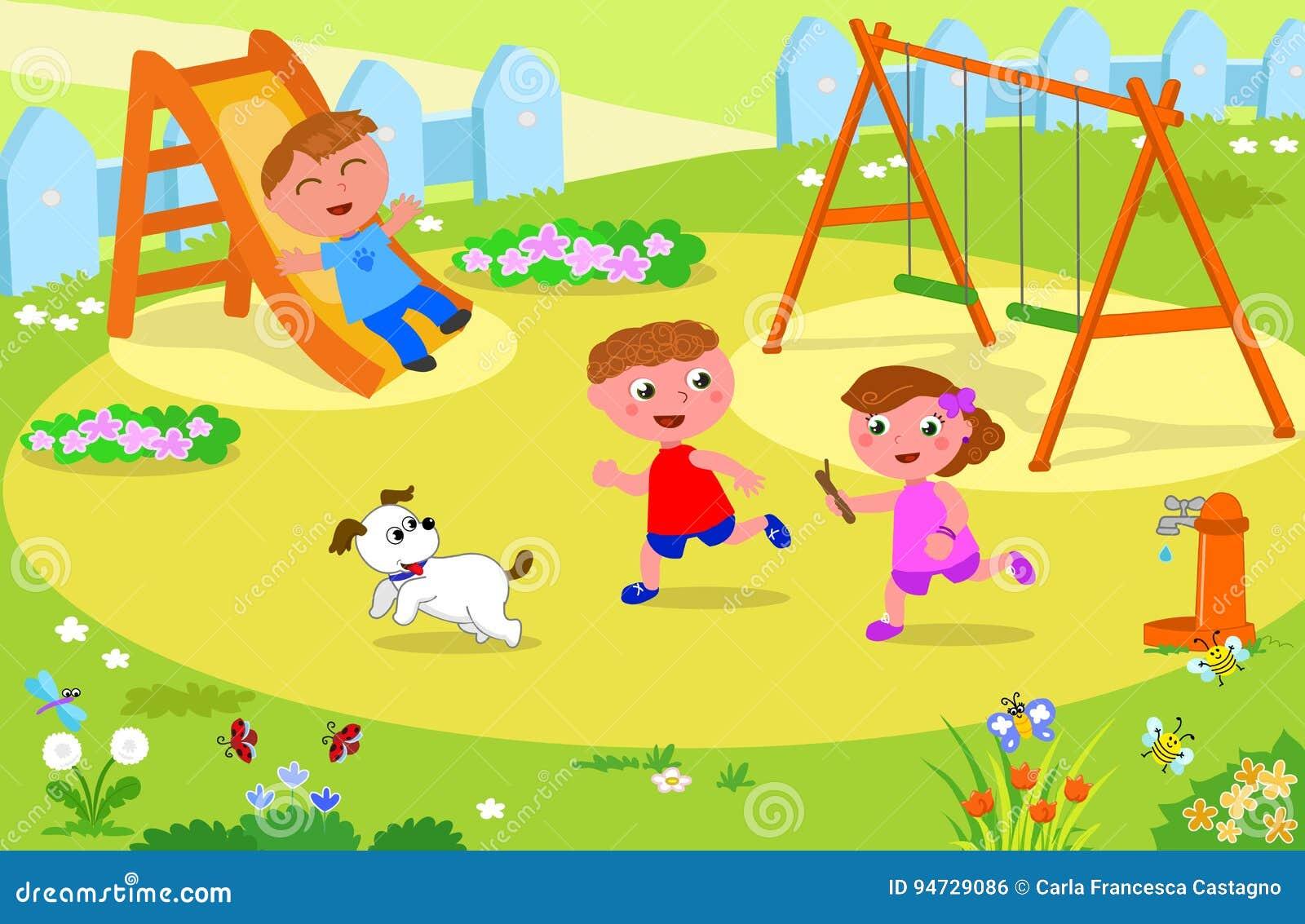 Crianças Que Jogam O Futebol Nos Desenhos Animados Do: Três Crianças Que Jogam No Campo De Jogos Ilustração