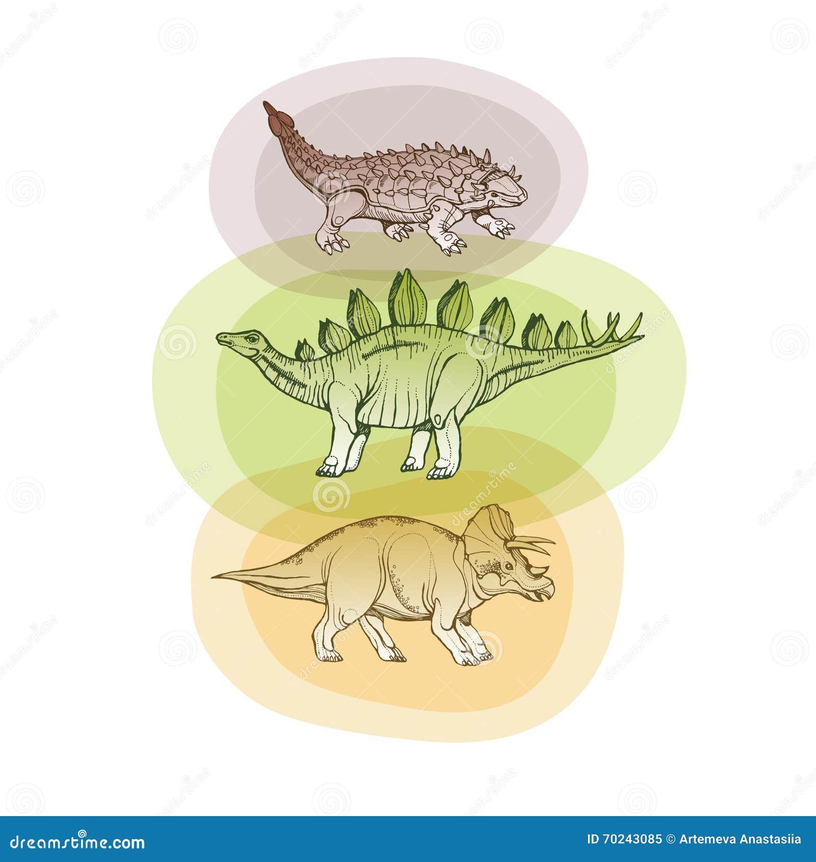 Três dinossauros dentro