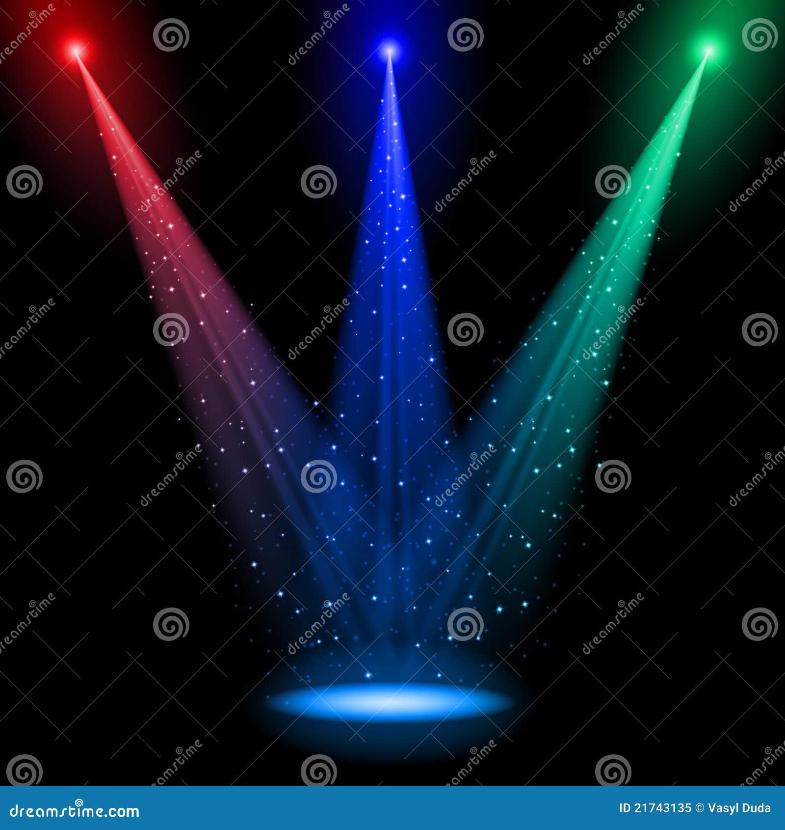 Três eixos do RGB de luz cónicos