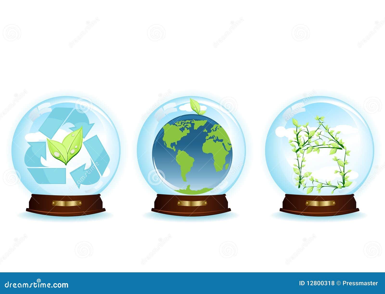 Três esferas azuis