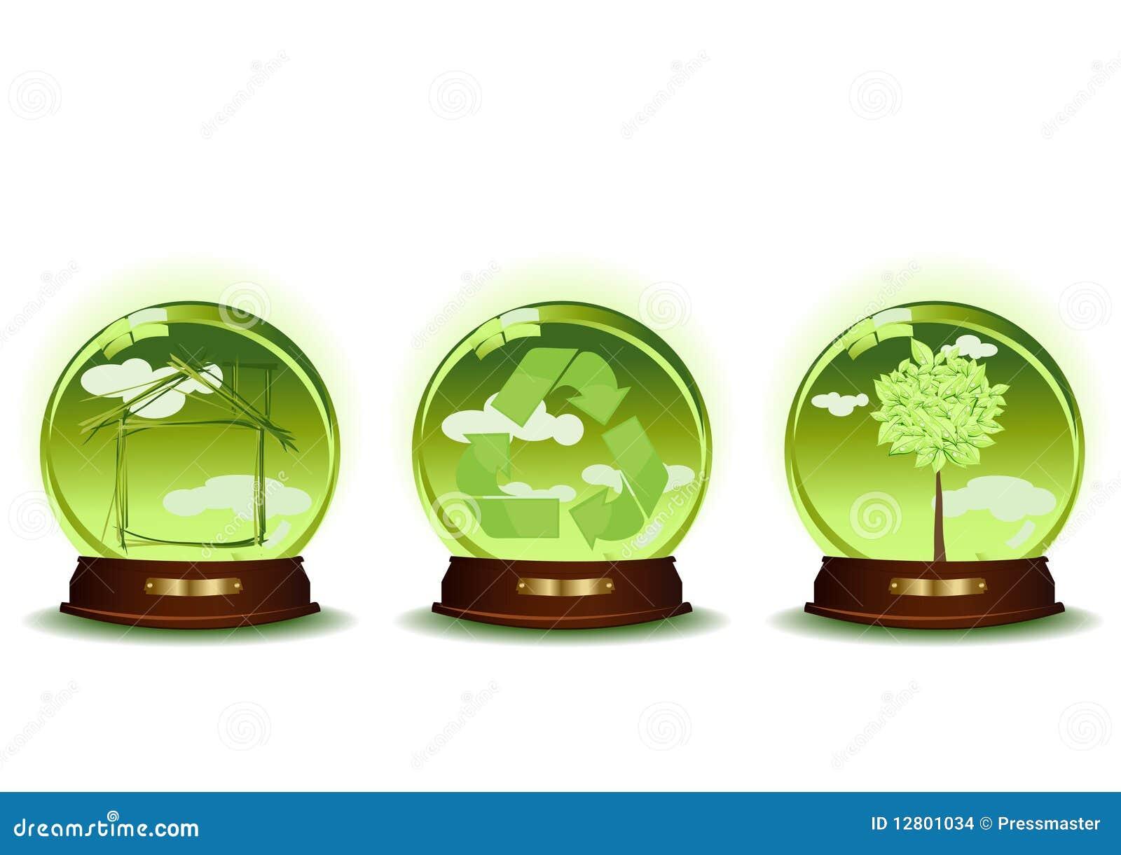 Três esferas verdes