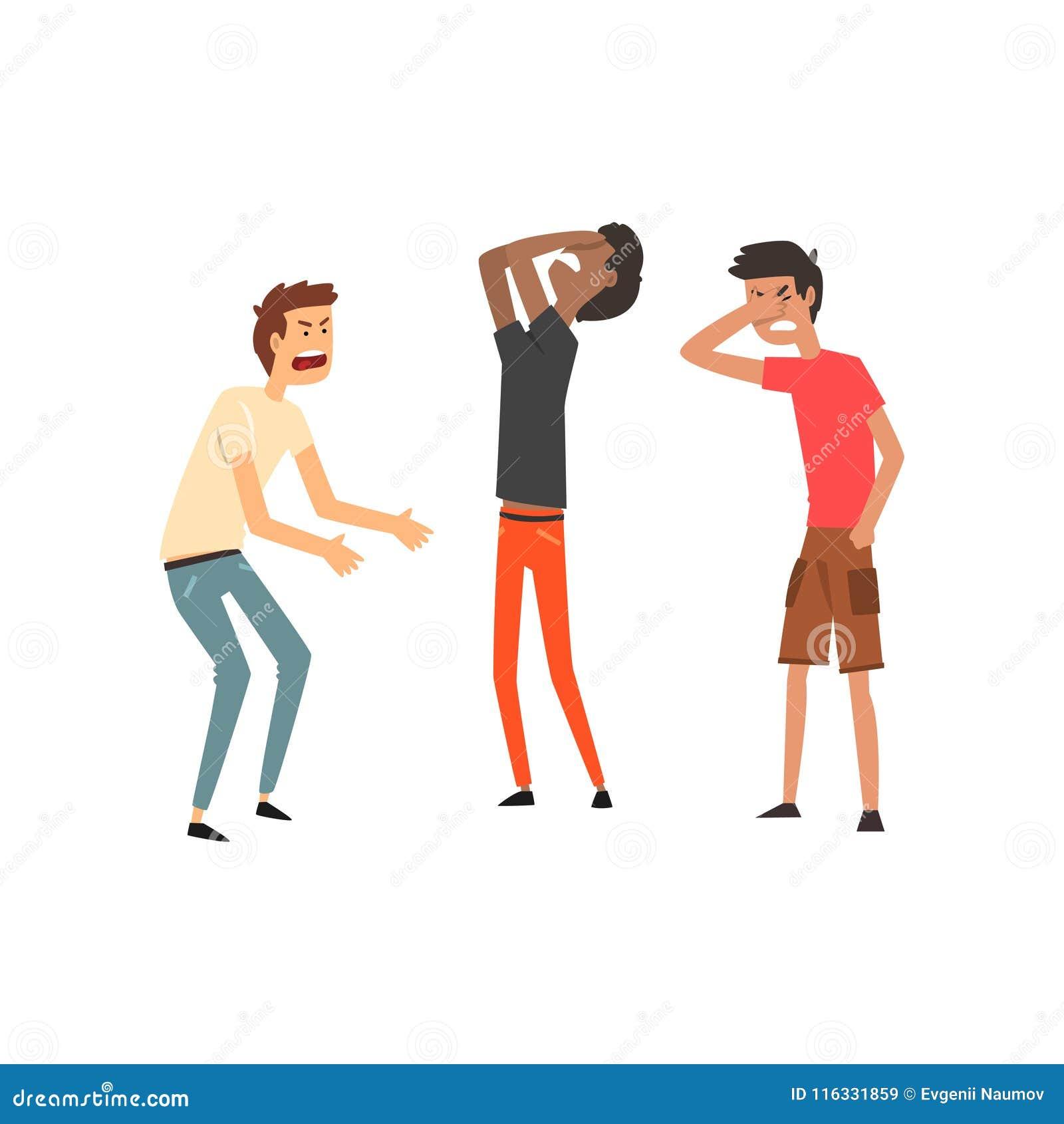 Três ilustrações dos homens que discutem e que juram, as agressivas e as violentas do comportamento do vetor em um fundo branco
