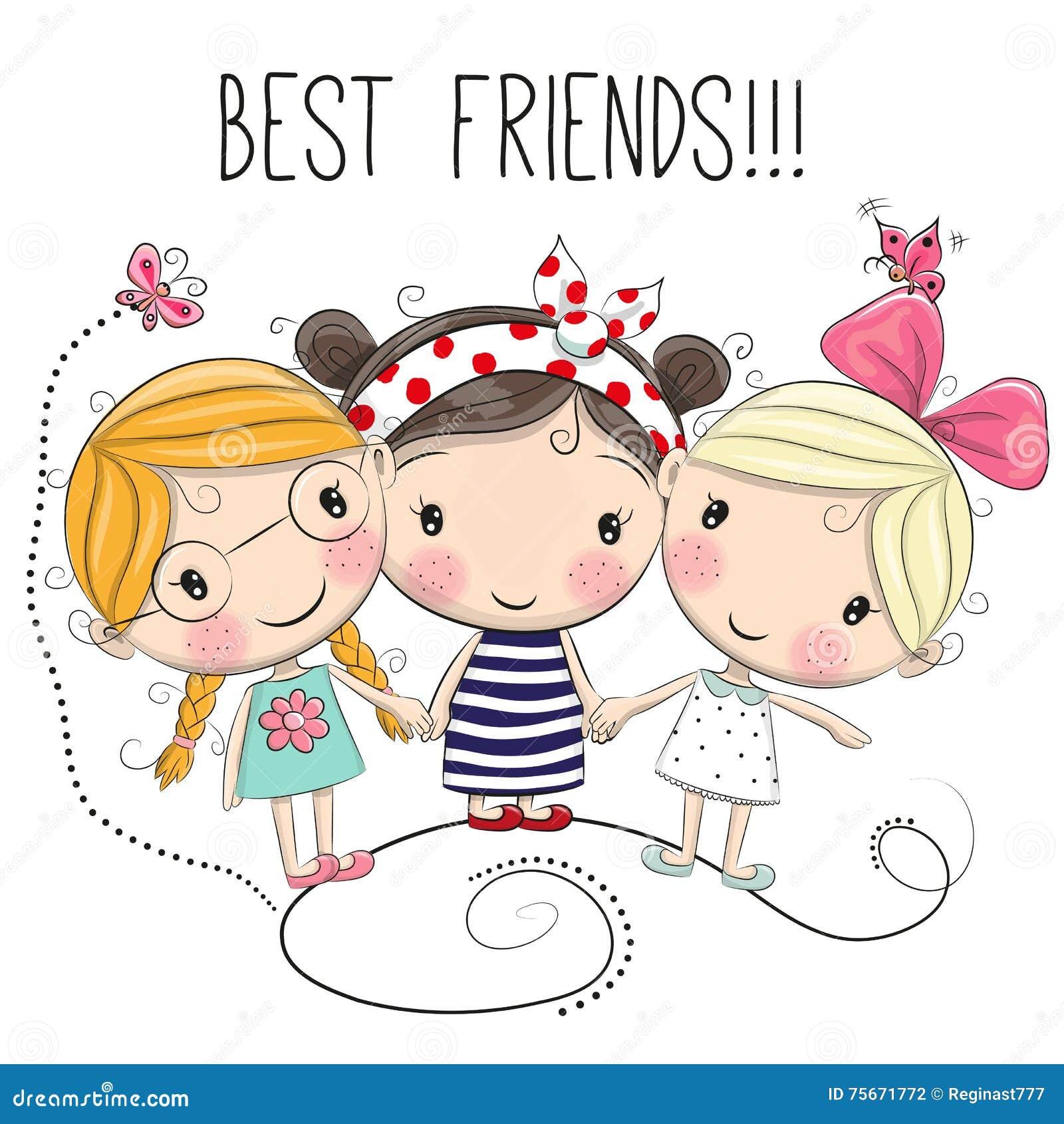 Três meninas bonitos dos desenhos animados