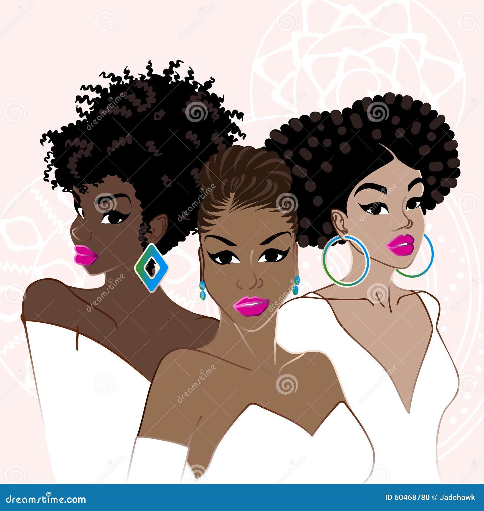 Três mulheres de pele escura elegantes