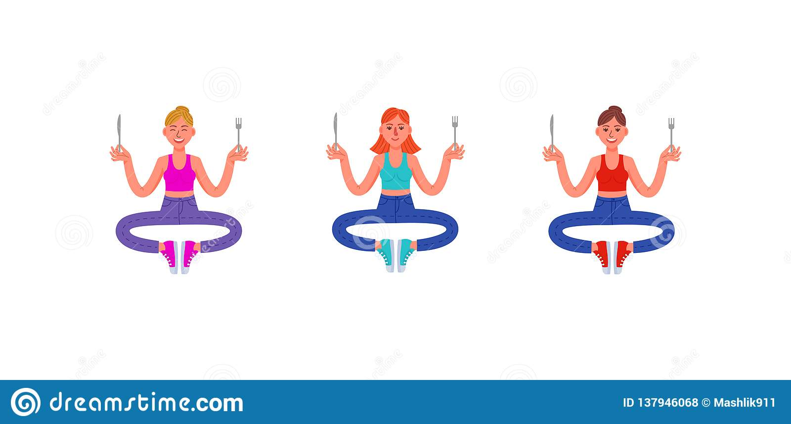Três mulheres finas sentam-se com uma forquilha e uma faca em suas mãos Ajuste das mulheres com fome Ilustração do vetor