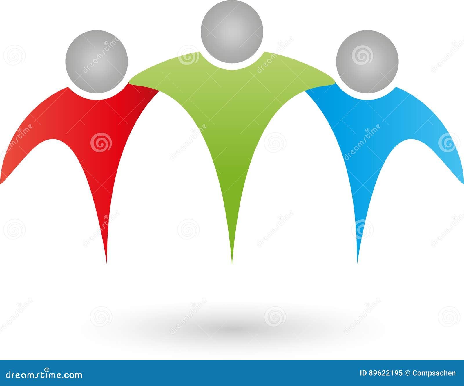 Três povos, equipe, família, grupo, logotipo dos amigos