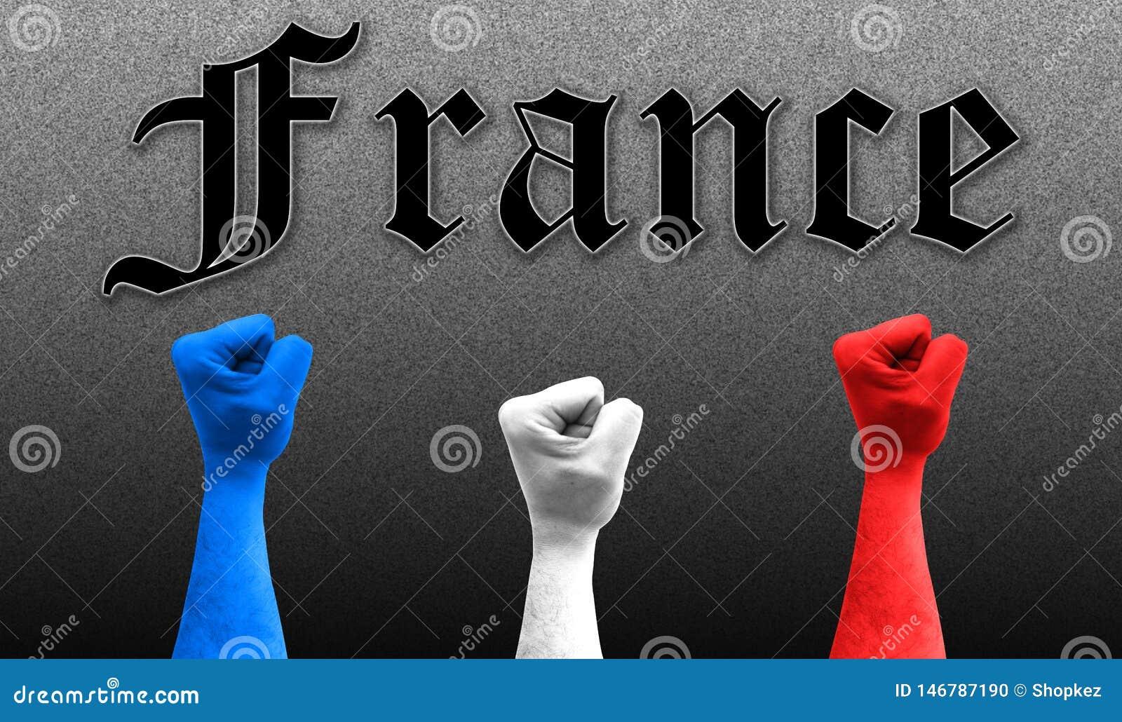 Três punhos no ar com as cores da bandeira de França