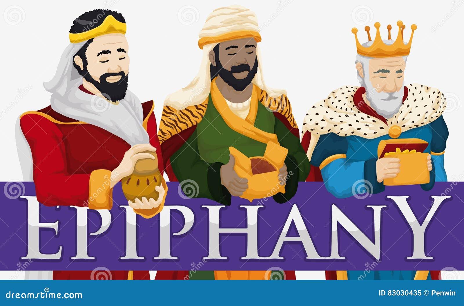 Três Reis Magos que guardam seus presentes para comemorar o esmagamento, ilustração do vetor