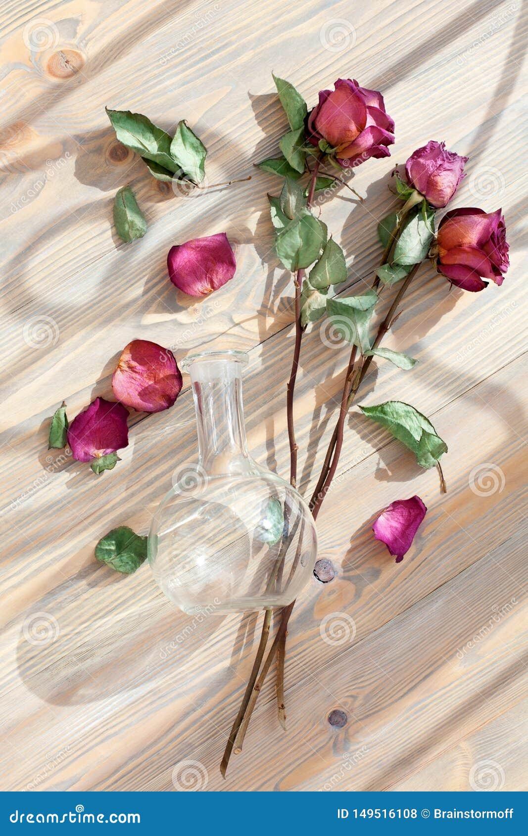 Tr?s rosas vermelhas, p?talas dispersadas da flor, folhas verdes, vaso redondo de vidro no close up de madeira da opini?o superio
